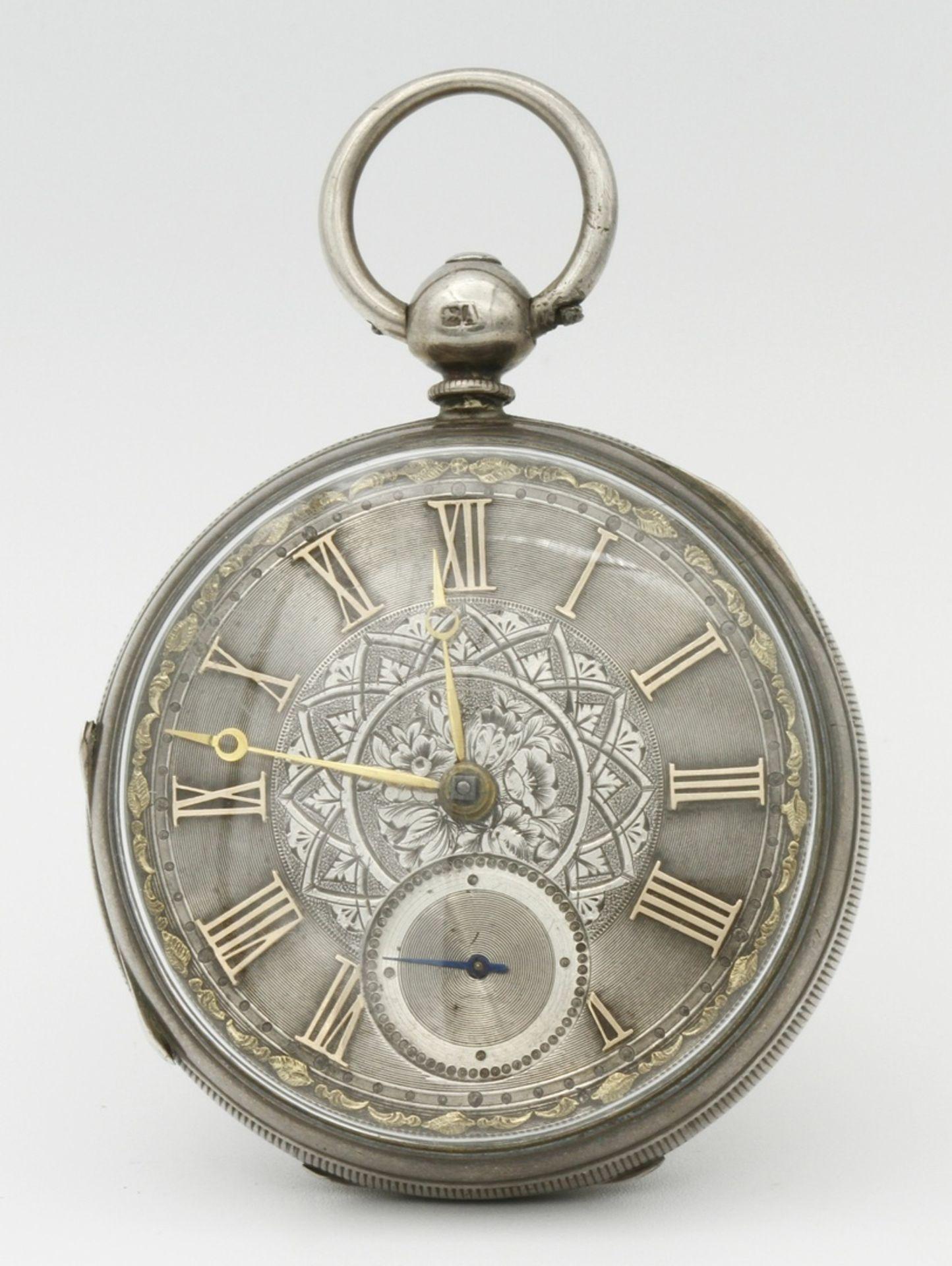 Aufwendig verzierte englische Silbertaschenuhr, um 1870 - Bild 2 aus 7