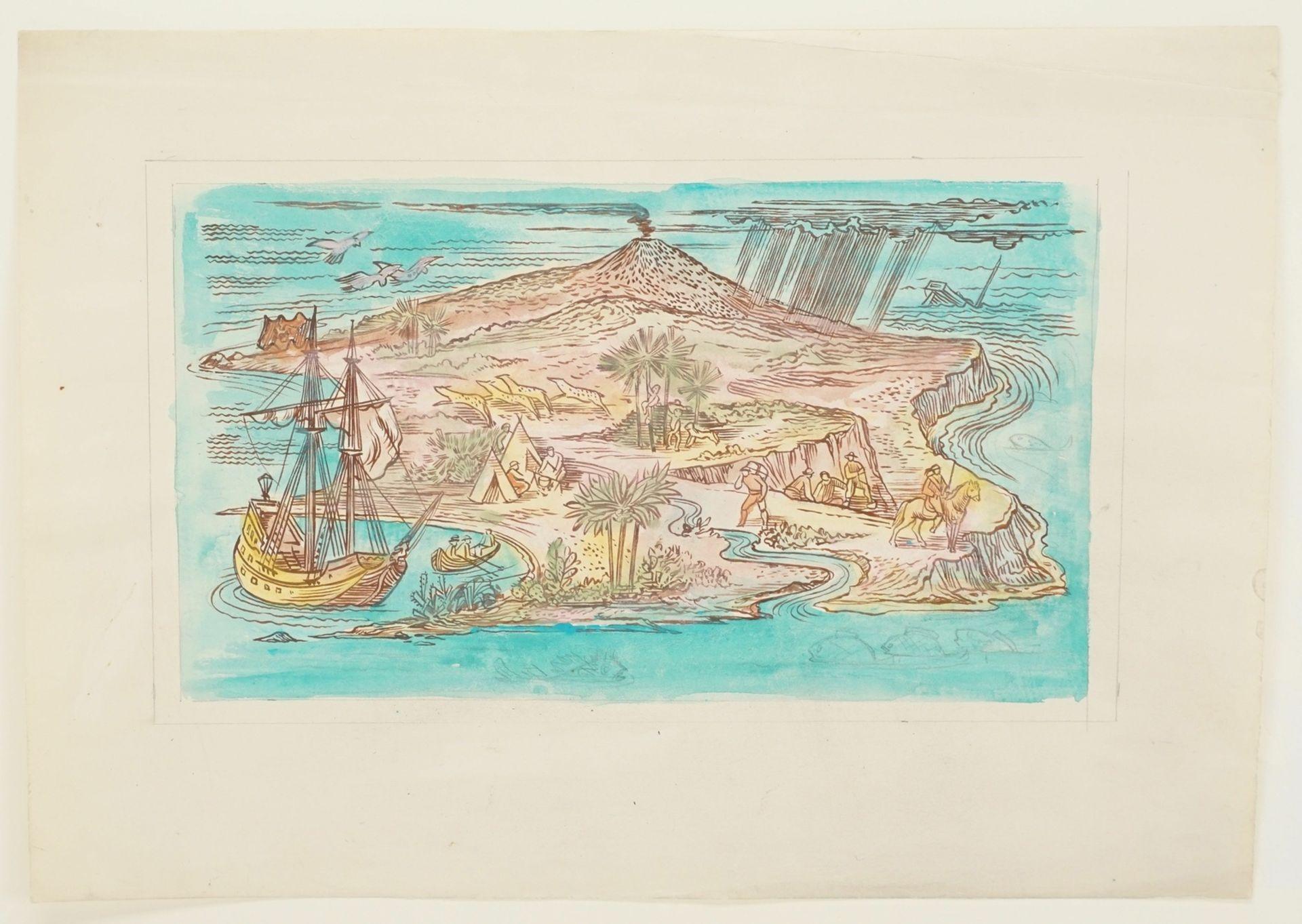 Richard Schwarzkopf, Exotische Insel mit Eroberern und Urbevölkerung - Bild 3 aus 4