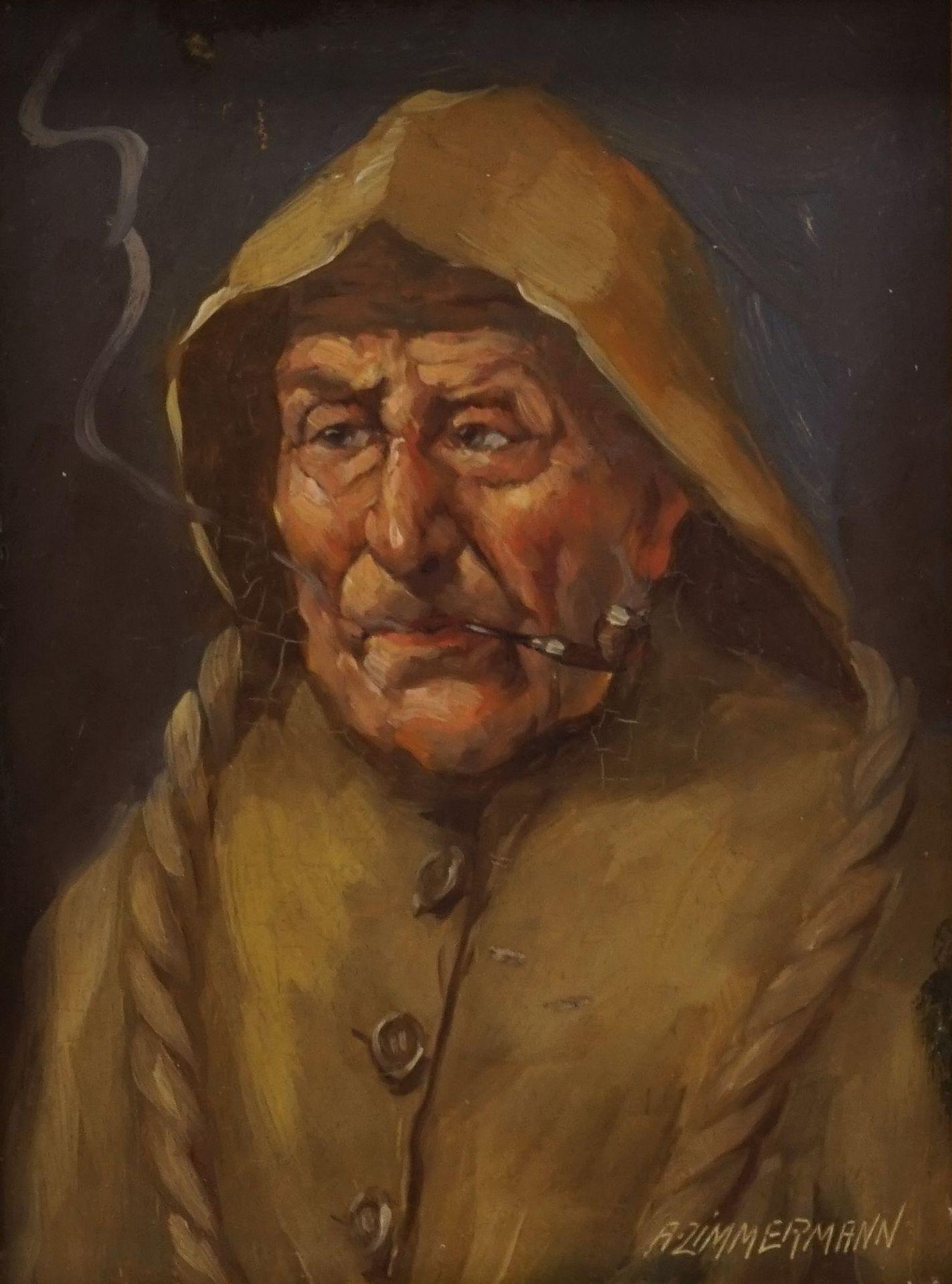 A. Zimmermann, Pfeife rauchender Fischer