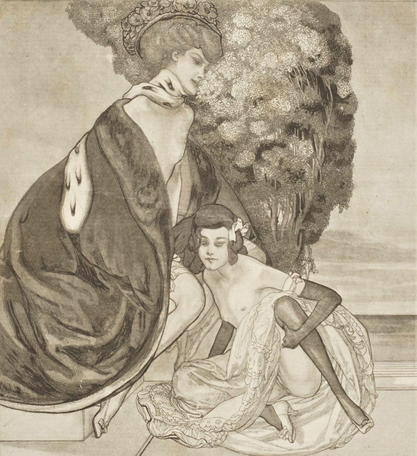"""Franz von Bayros, """" L'autre jour, Lilytte, ce fut comme des perles dans mes cheveux"""" (Eines ..."""
