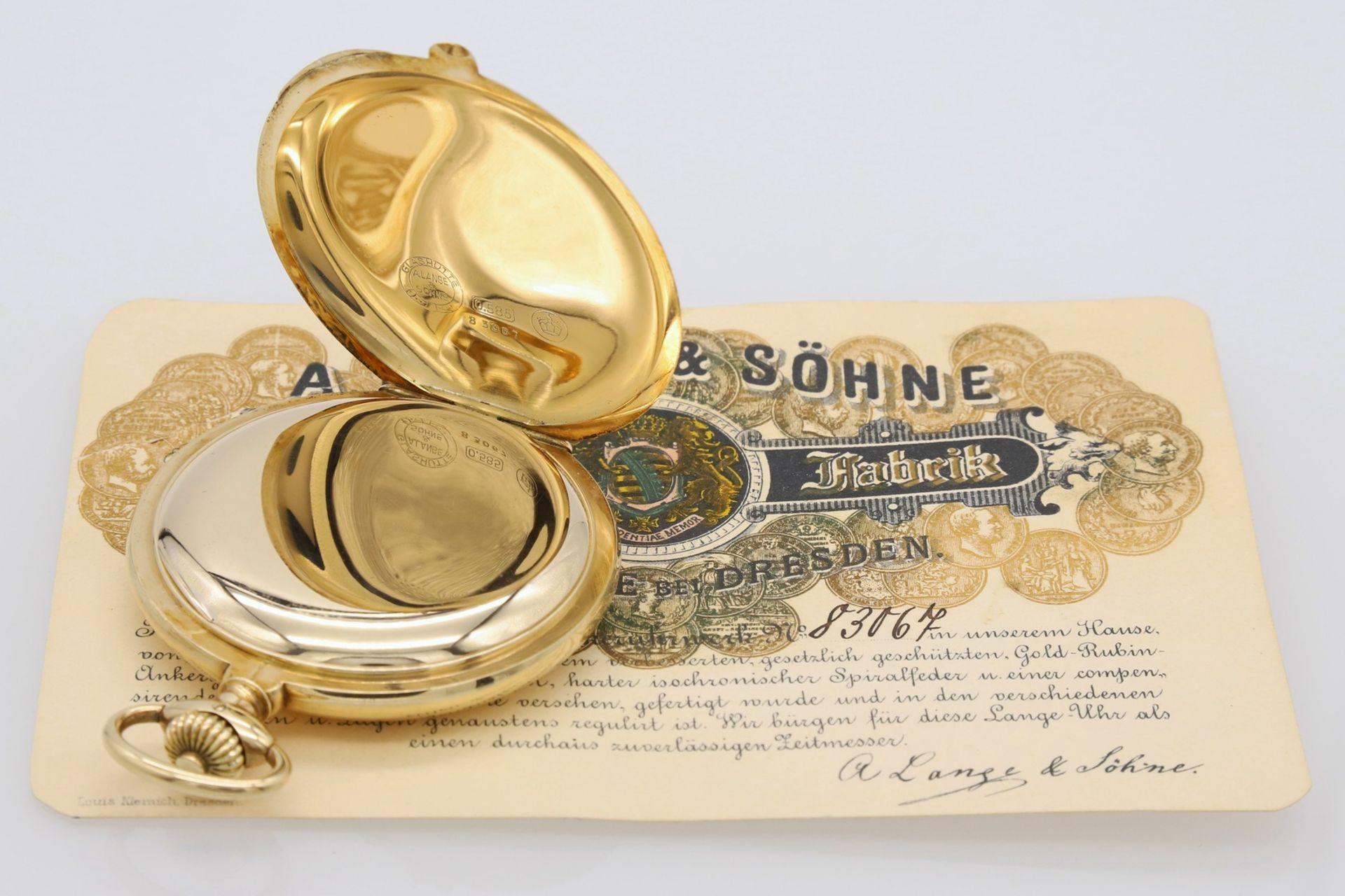 A. Lange & Söhne Savonette Taschenuhr im Etui, um 1930 - Image 5 of 6
