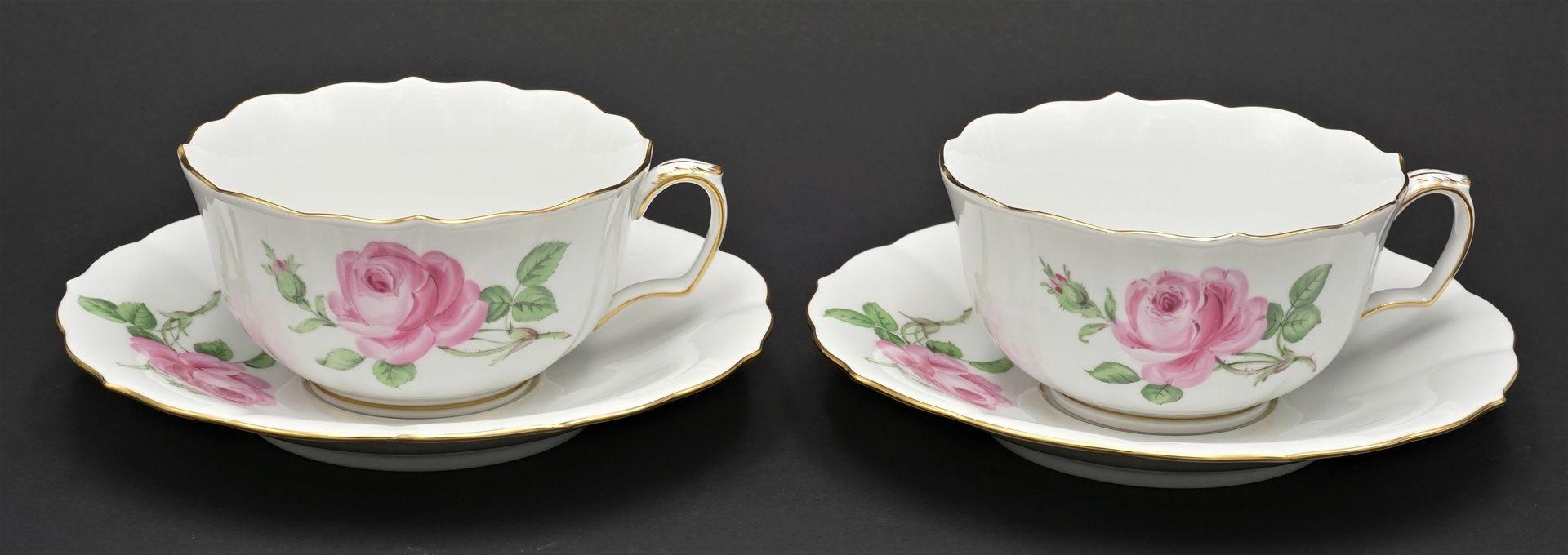 Zwei Meissen Teetassen mit Roter Rose