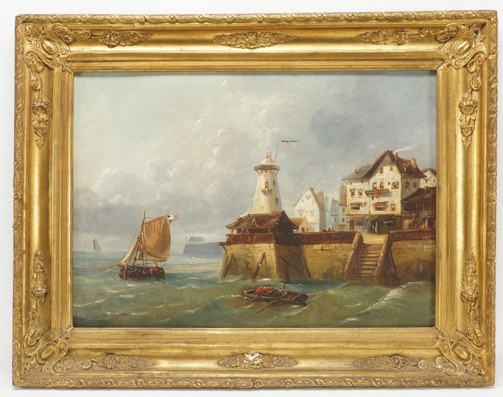 """Landschafts- und Marinemaler, """"Vor der Kaimauer"""" - Bild 2 aus 3"""