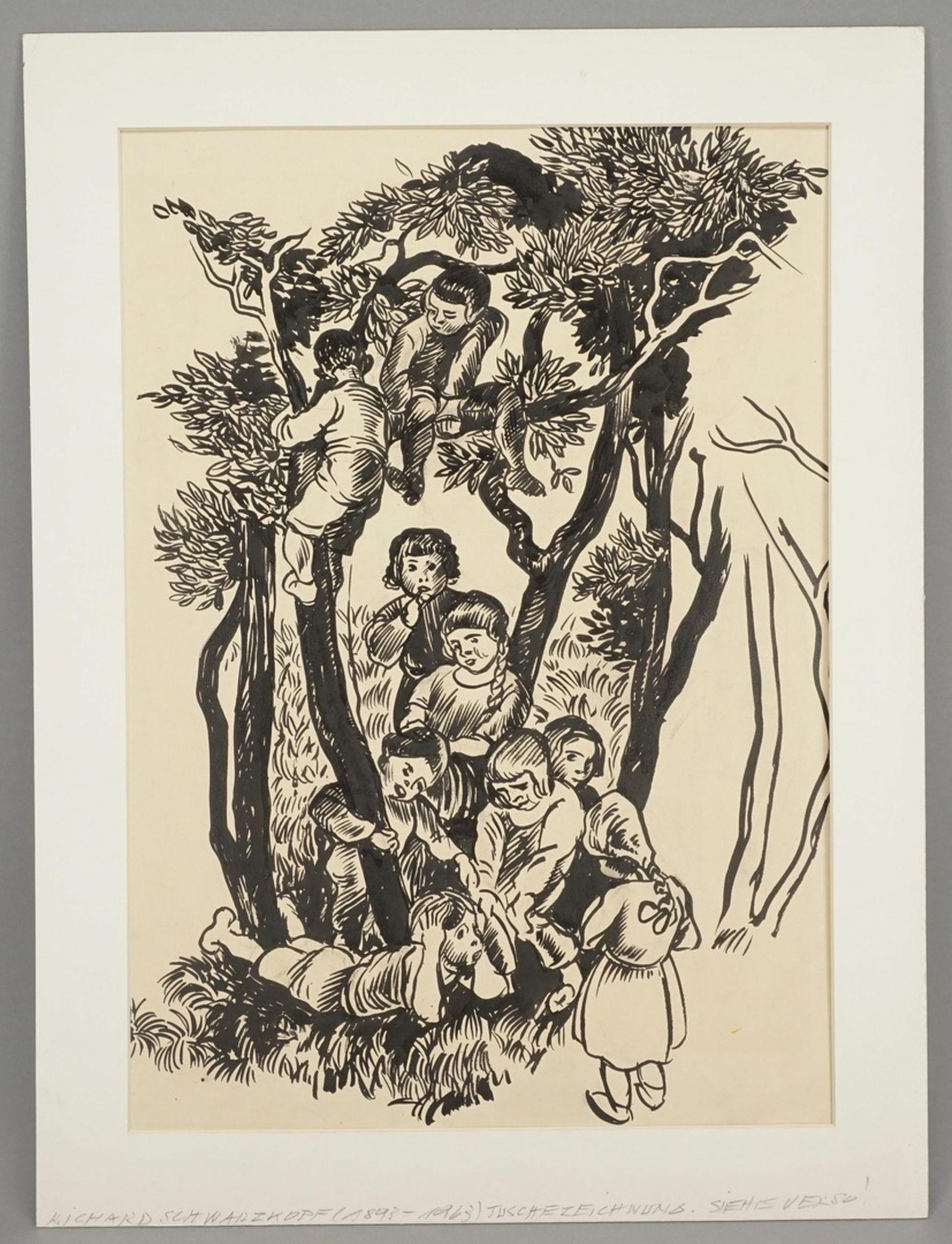 Richard Schwarzkopf, Heitere Kindergruppe zwischen Bäumen - Bild 2 aus 5