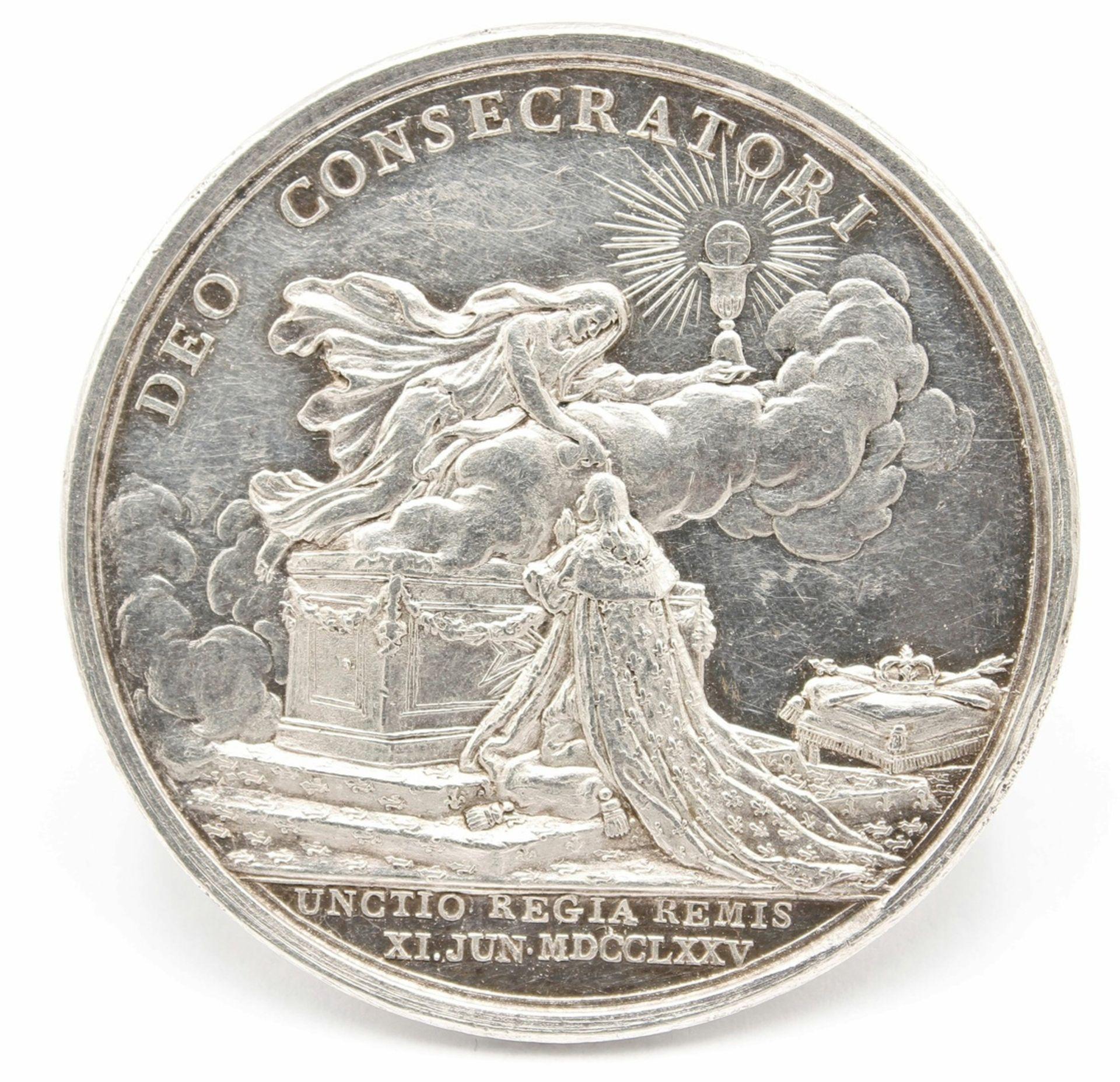 Silbermedaille zur Krönung Ludwigs XVI. - Bild 2 aus 2