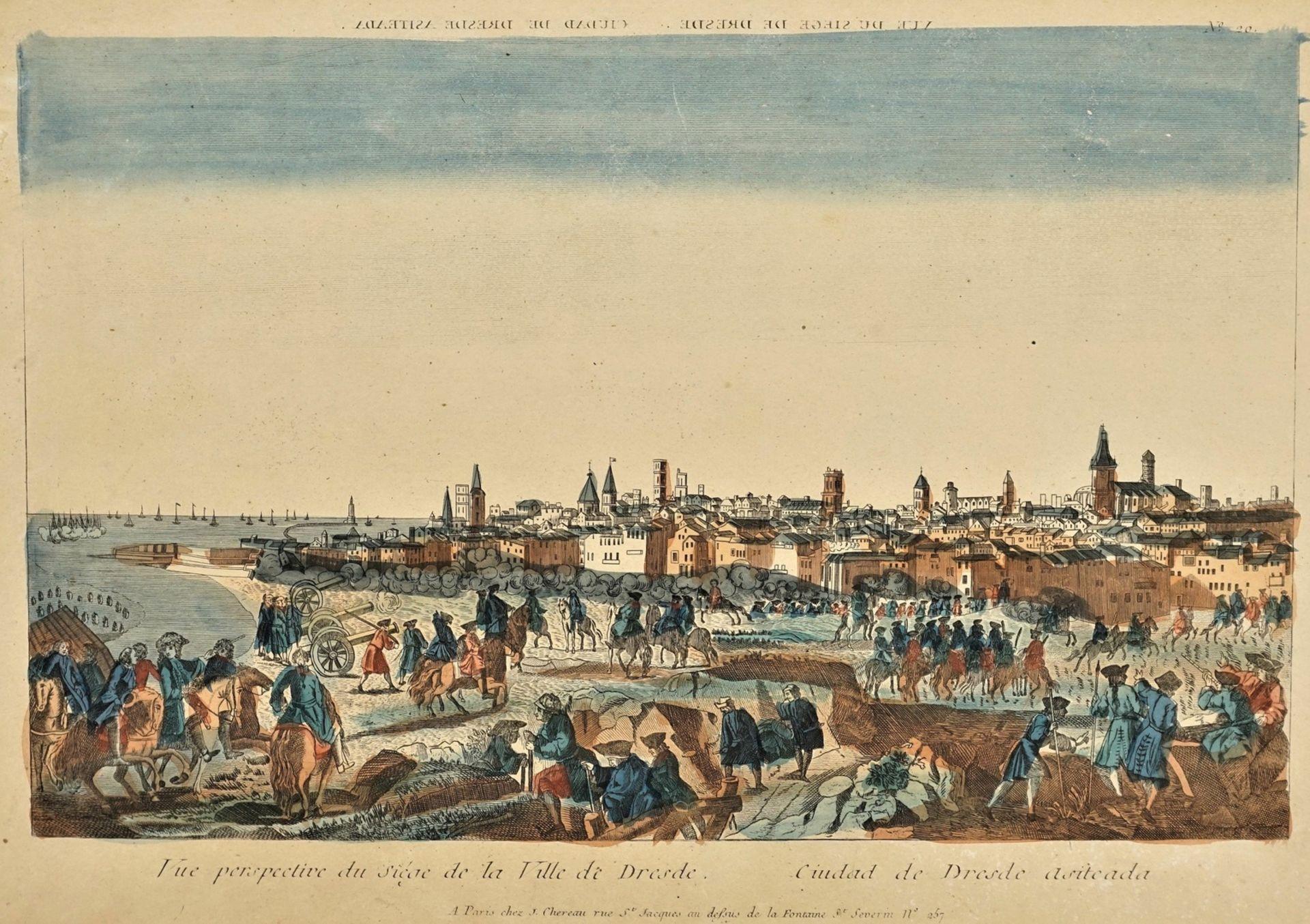 """Guckkasten-Blatt """"Vue perspective du siège de la Ville de Dresde"""""""