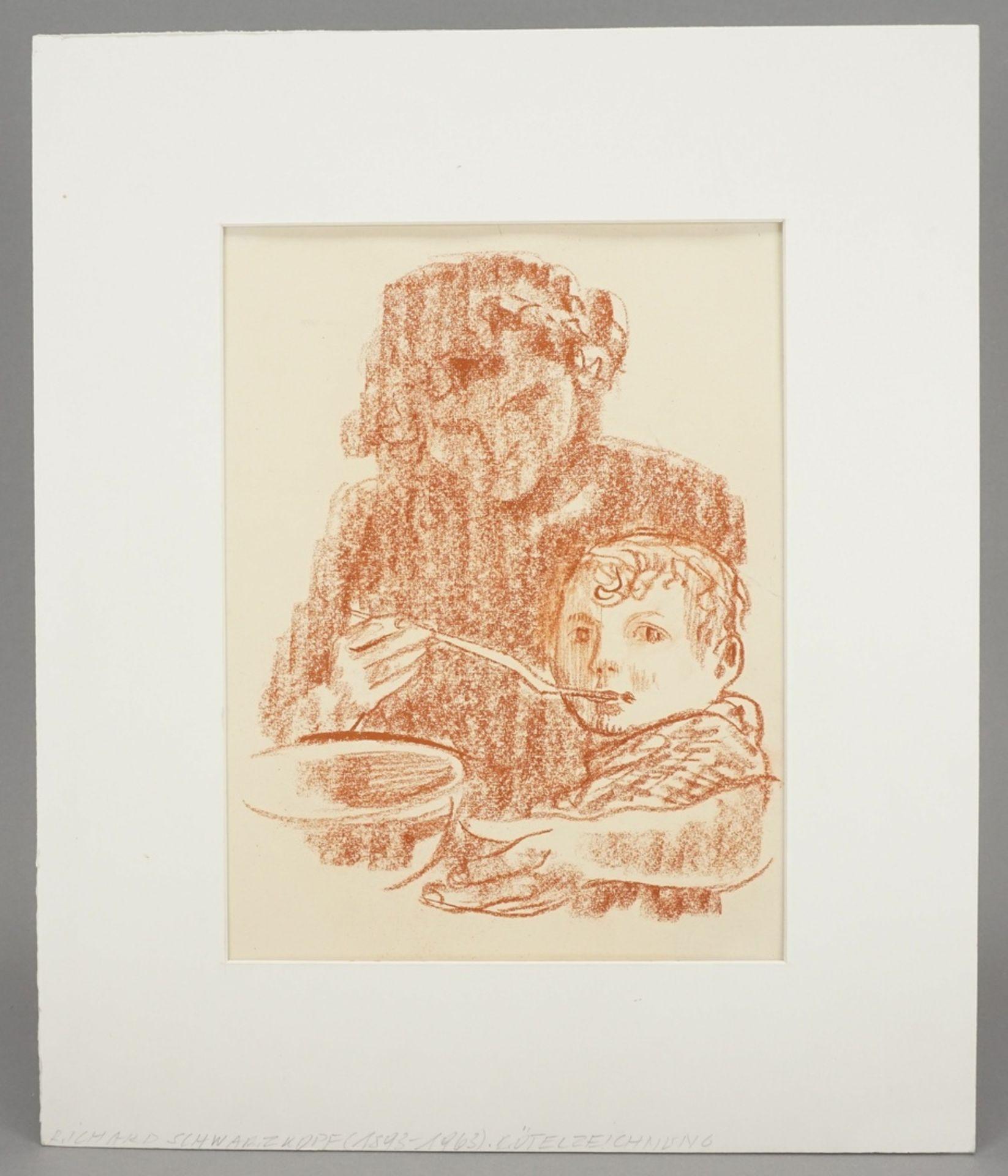 Richard Schwarzkopf, Mutter und Kind beim Essen - Bild 2 aus 4