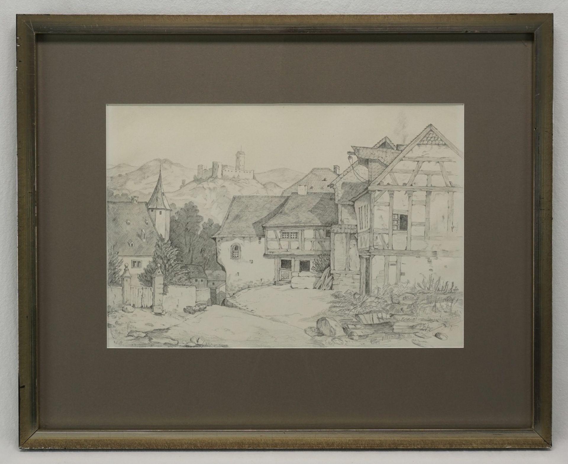 C. Hector, Dorfszene mit Burg - Bild 2 aus 3