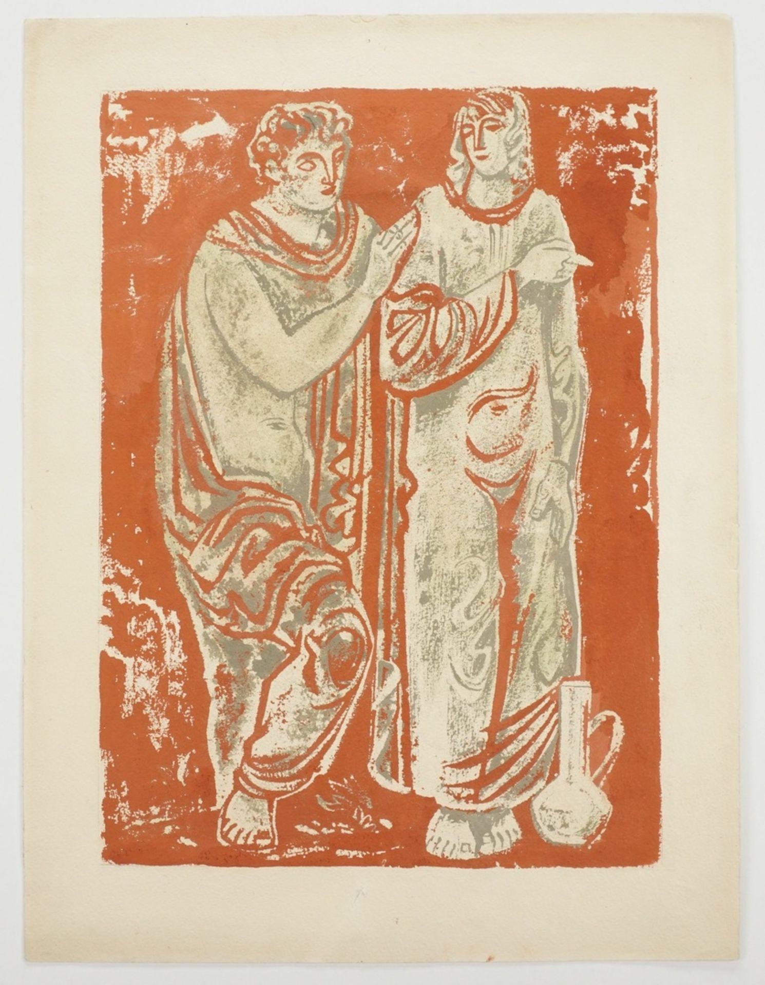 Richard Schwarzkopf, Figurenpaar mit Tonkrug (Isaak und Rebekka ) - Bild 3 aus 5