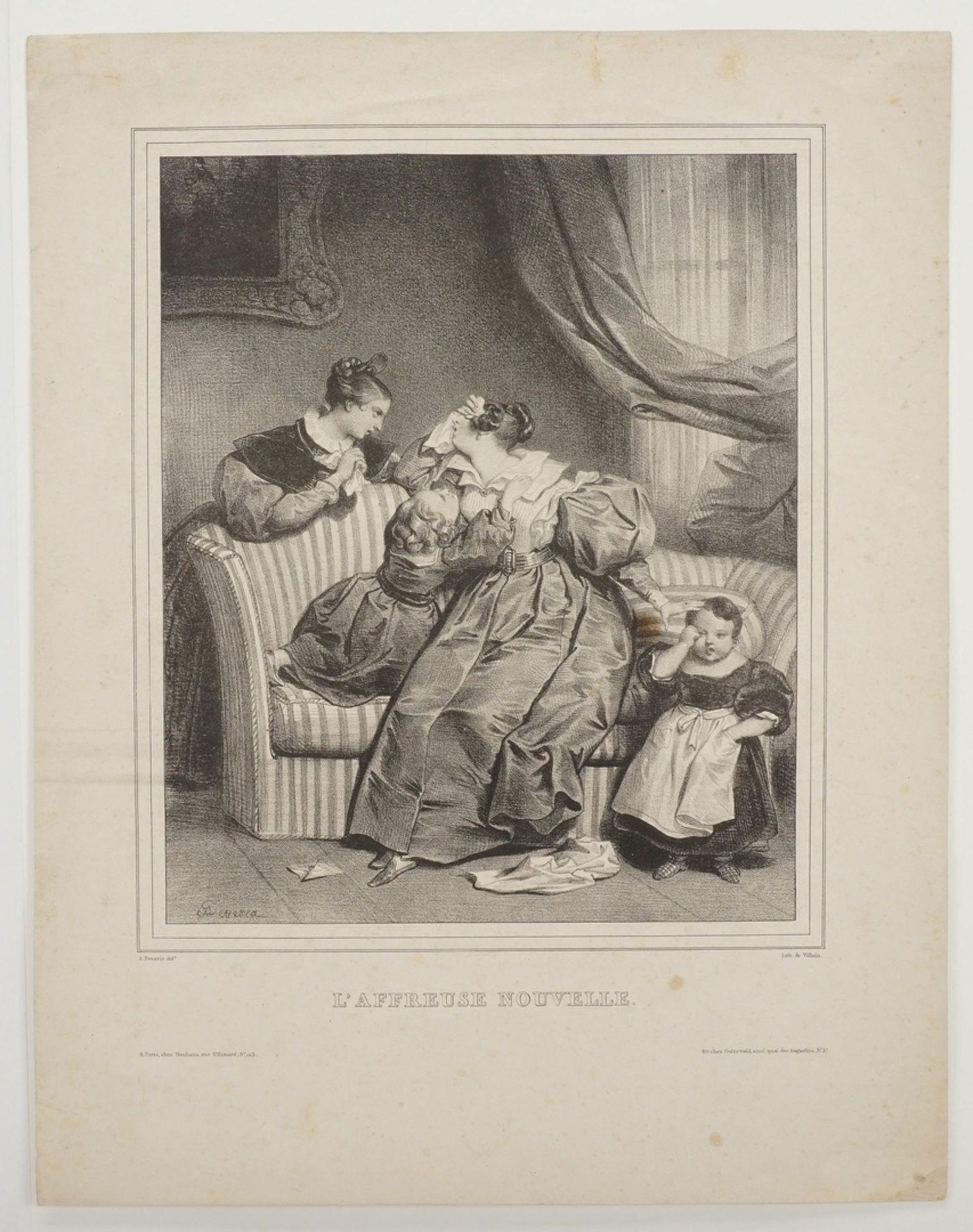 """Achille Devéria, """"L'Affreuse Nouvelle"""" (Die schreckliche Nachricht) - Bild 3 aus 4"""