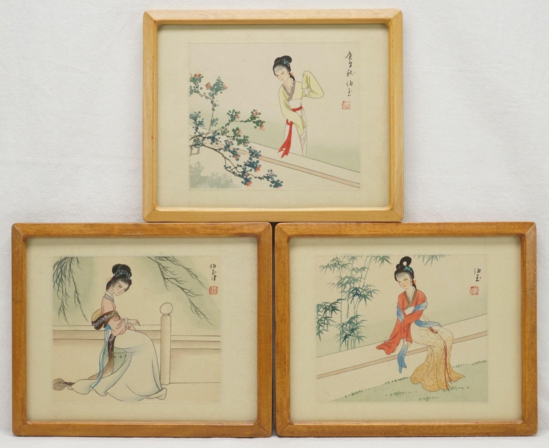 Drei japanische Seidenbilder mit Frauendarstellungen