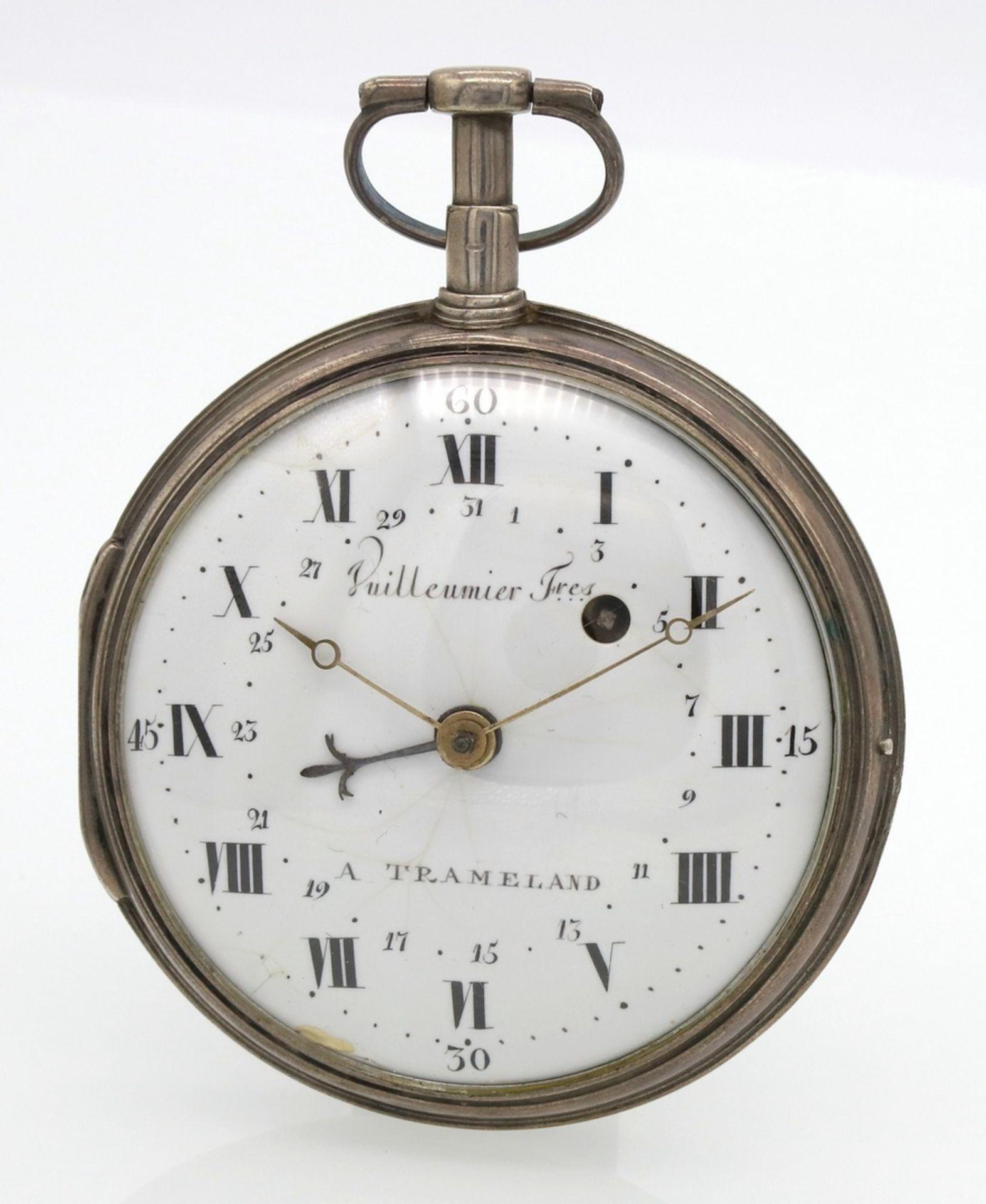 Vuilleumier Fres silberne Spindeltaschenuhr mit Datumsanzeige, um 1830 - Bild 5 aus 5