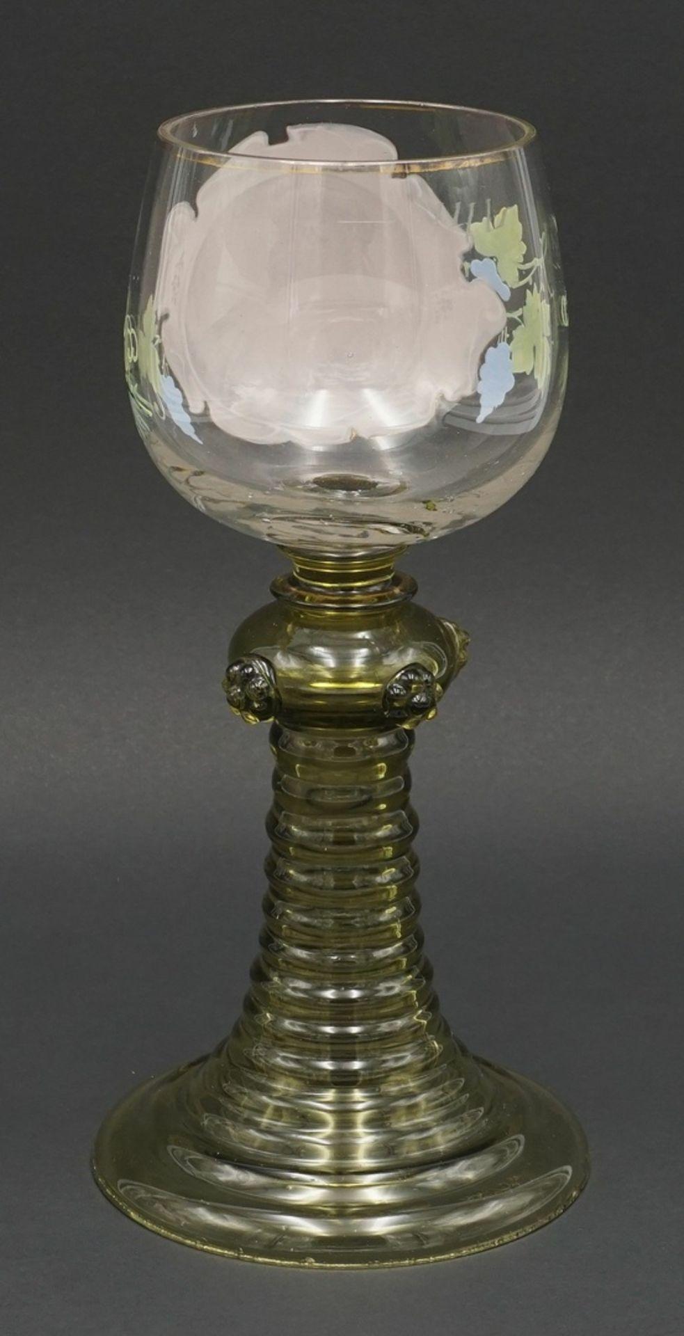 Nuppenglas mit Emaillebild, 19. Jh. - Bild 2 aus 3