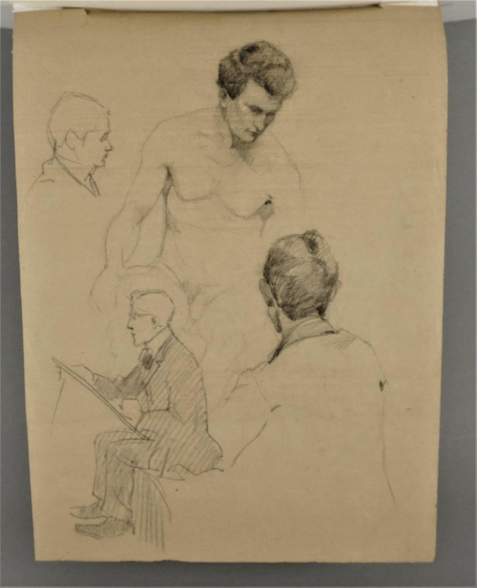 Paul Wirsing, Stehender weiblicher Halbakt, die linke Hand am Haar - Bild 4 aus 4