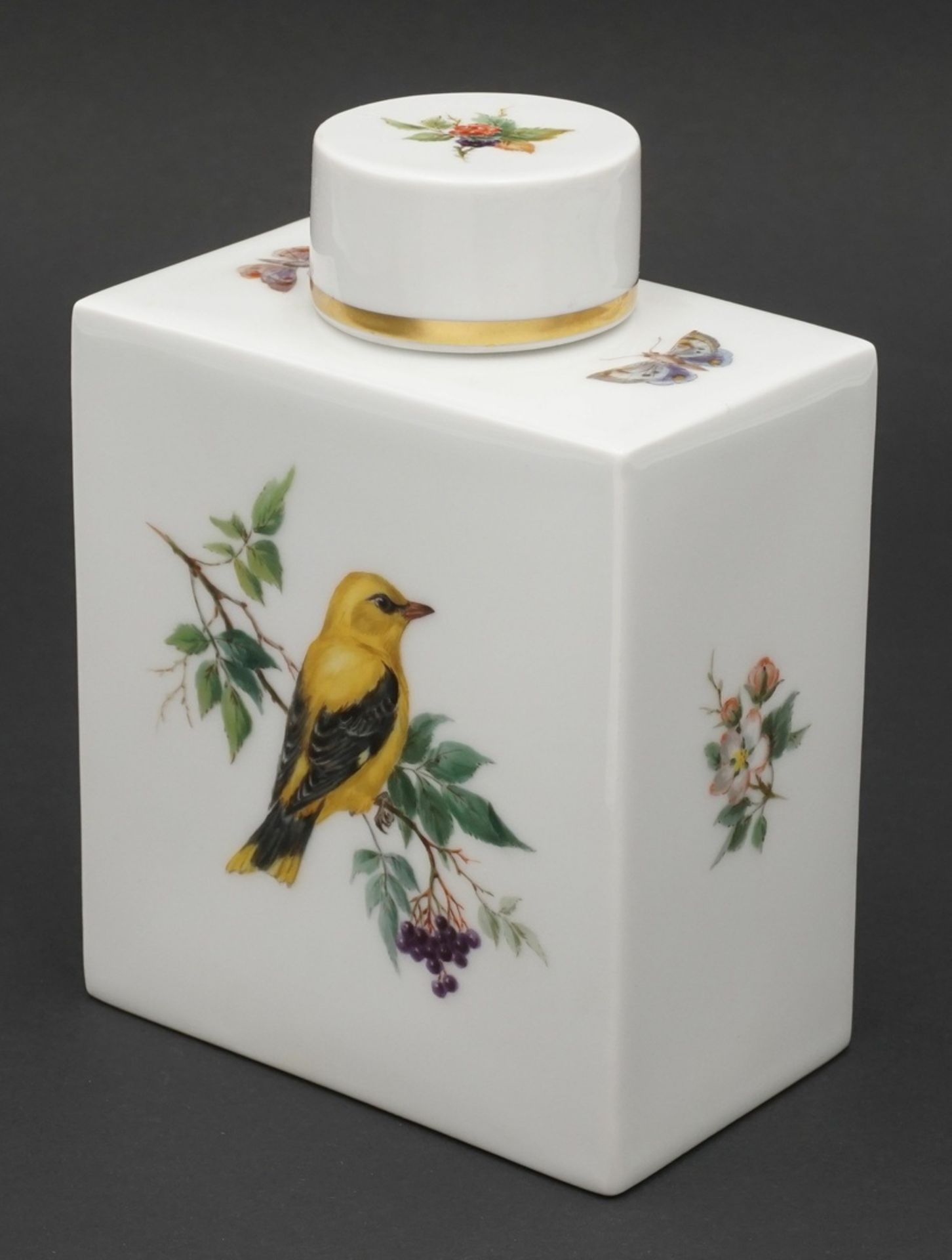 Meissen Teedose mit Vogelmalerei