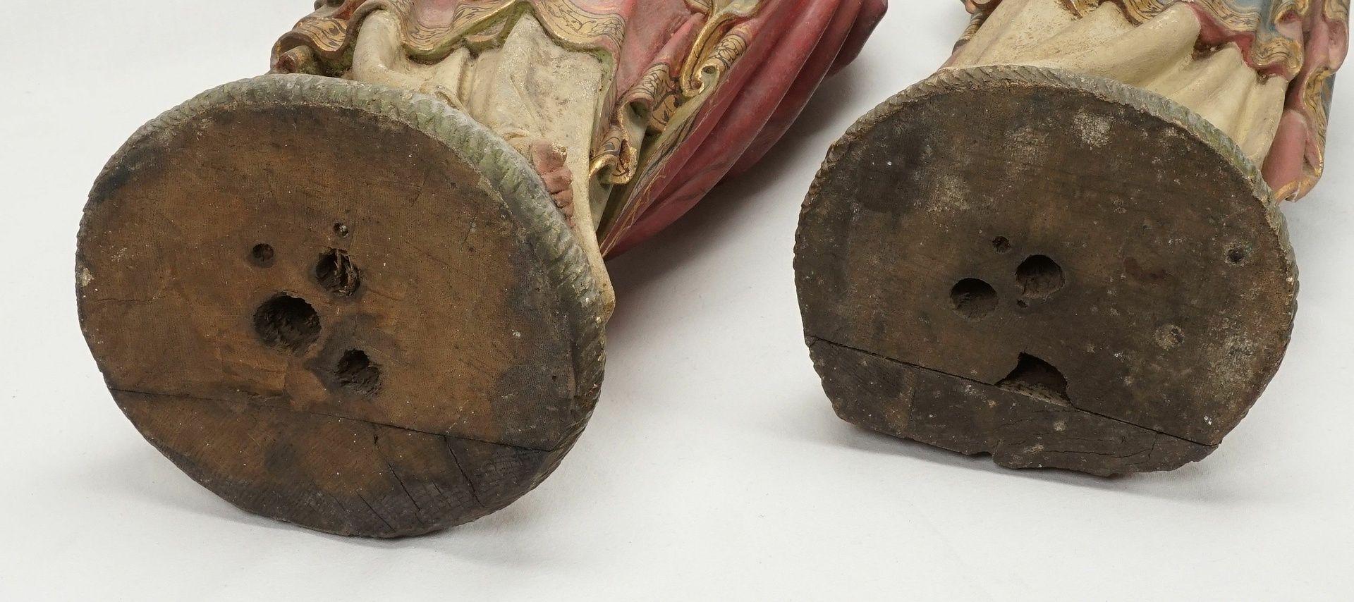 Zwei Holzskulpturen, Jesus und Maria mit brennendem Herzen, 19. Jh. - Bild 5 aus 5