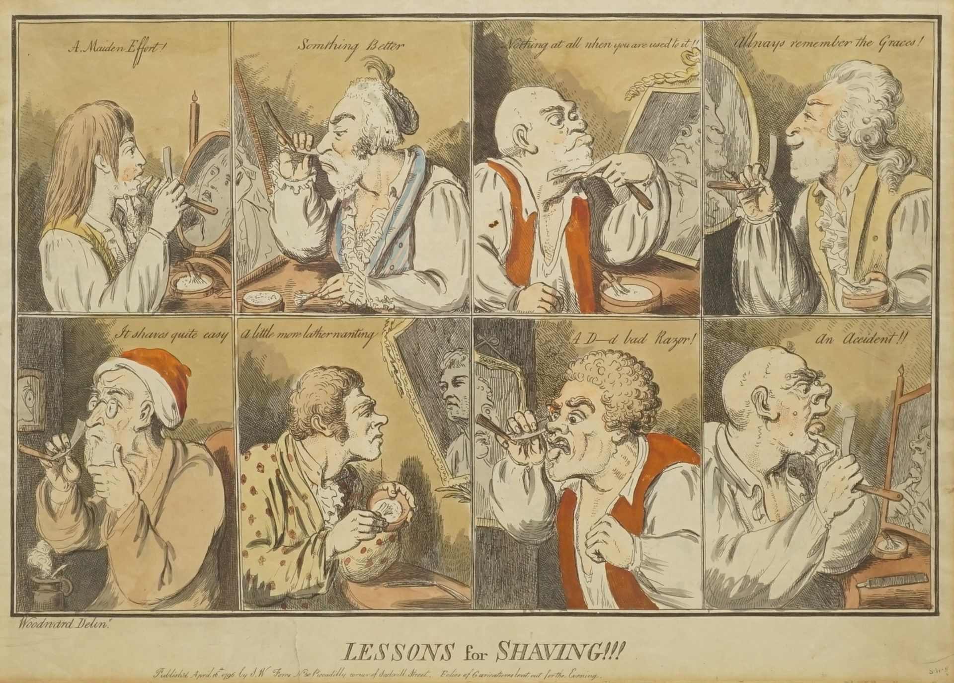 "George Moutard Woodward, ""Lessons of Shaving"" (Karikaturistische Rasurszenen)"