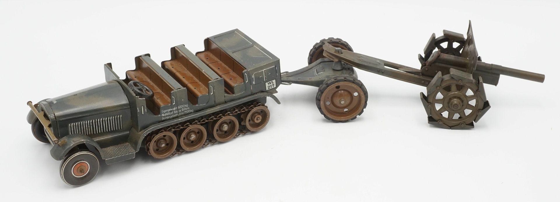 Tippco Wehrmachts Mannschaftswagen mit Geschütz, um 1940