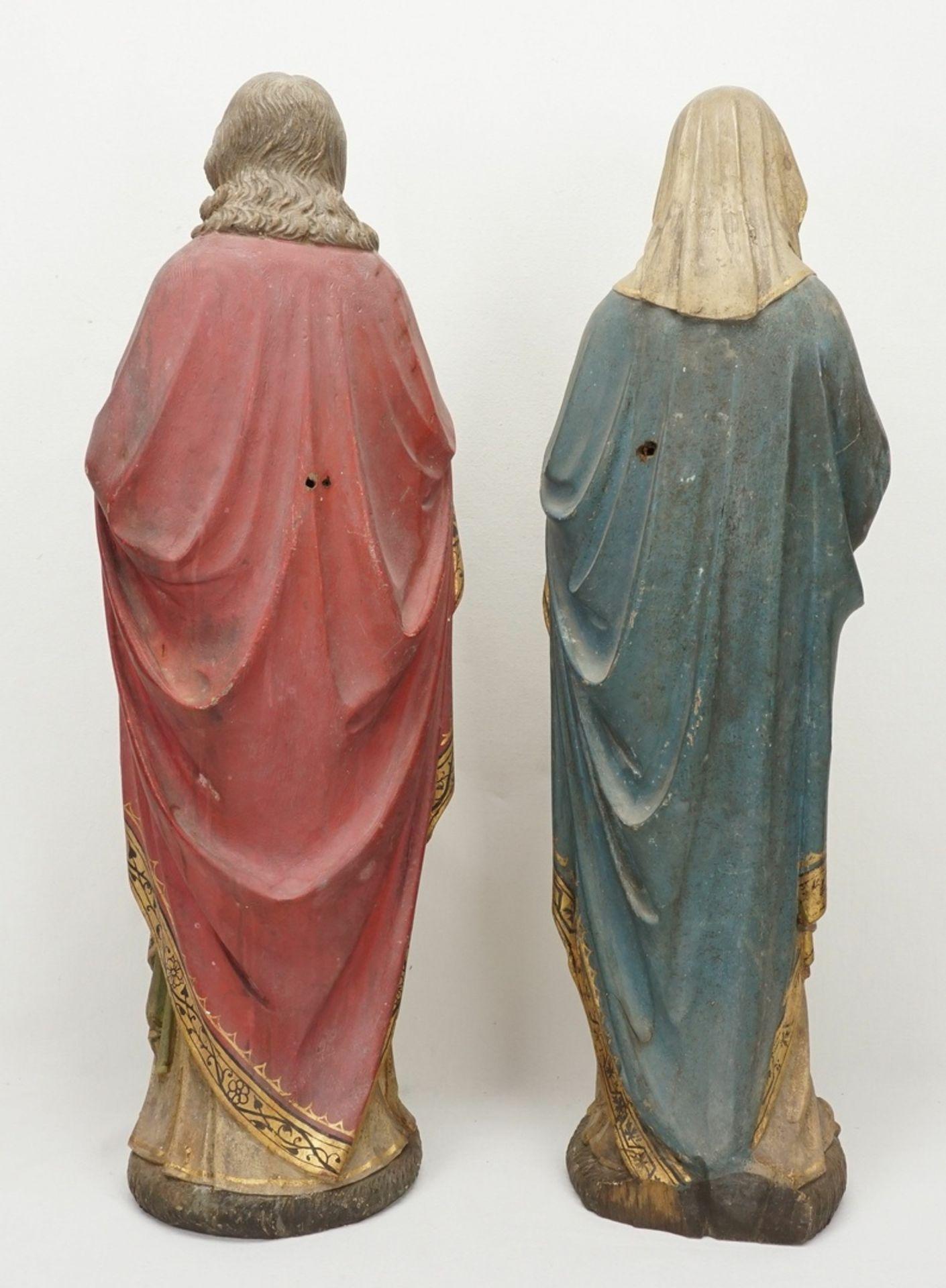 Zwei Holzskulpturen, Jesus und Maria mit brennendem Herzen, 19. Jh. - Bild 2 aus 5