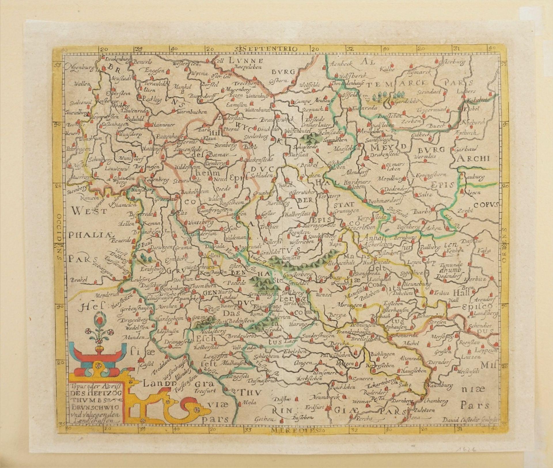 David Custos (Custodis), Landkarte des Herzogtums Braunschweig und umliegender Landschaften - Bild 3 aus 3