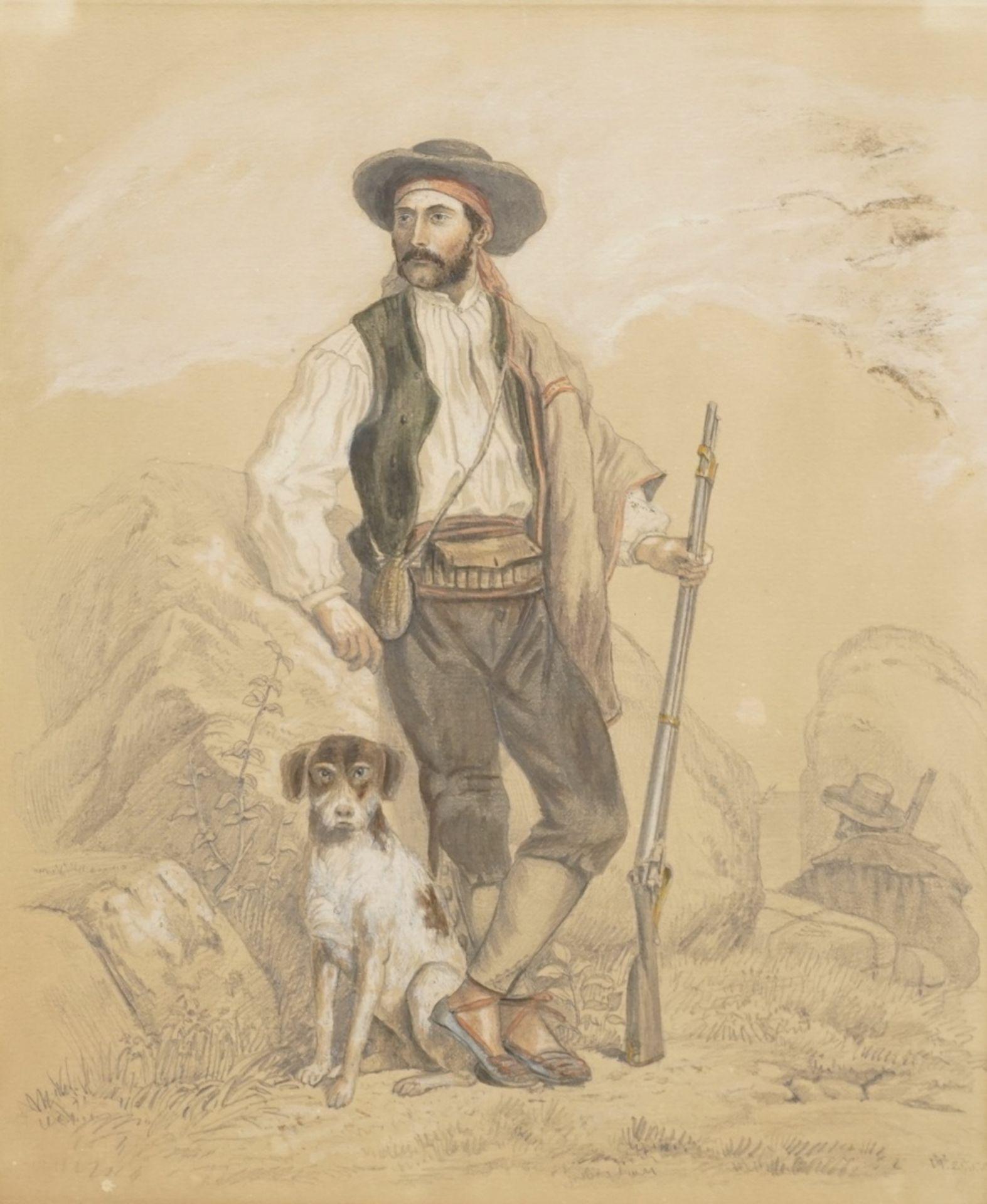 """Monogrammist V.W., """"Südlicher Jäger mit Hund und Gewehr"""""""
