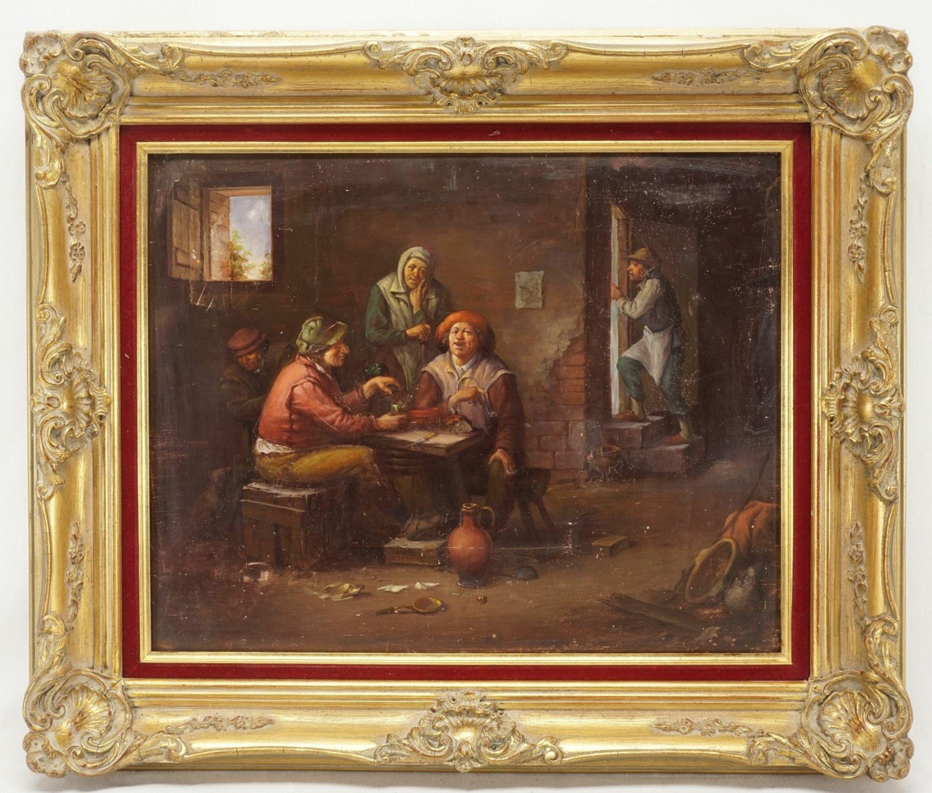 Motivisch nach David Teniers der Jüngere, Wirthausrunde