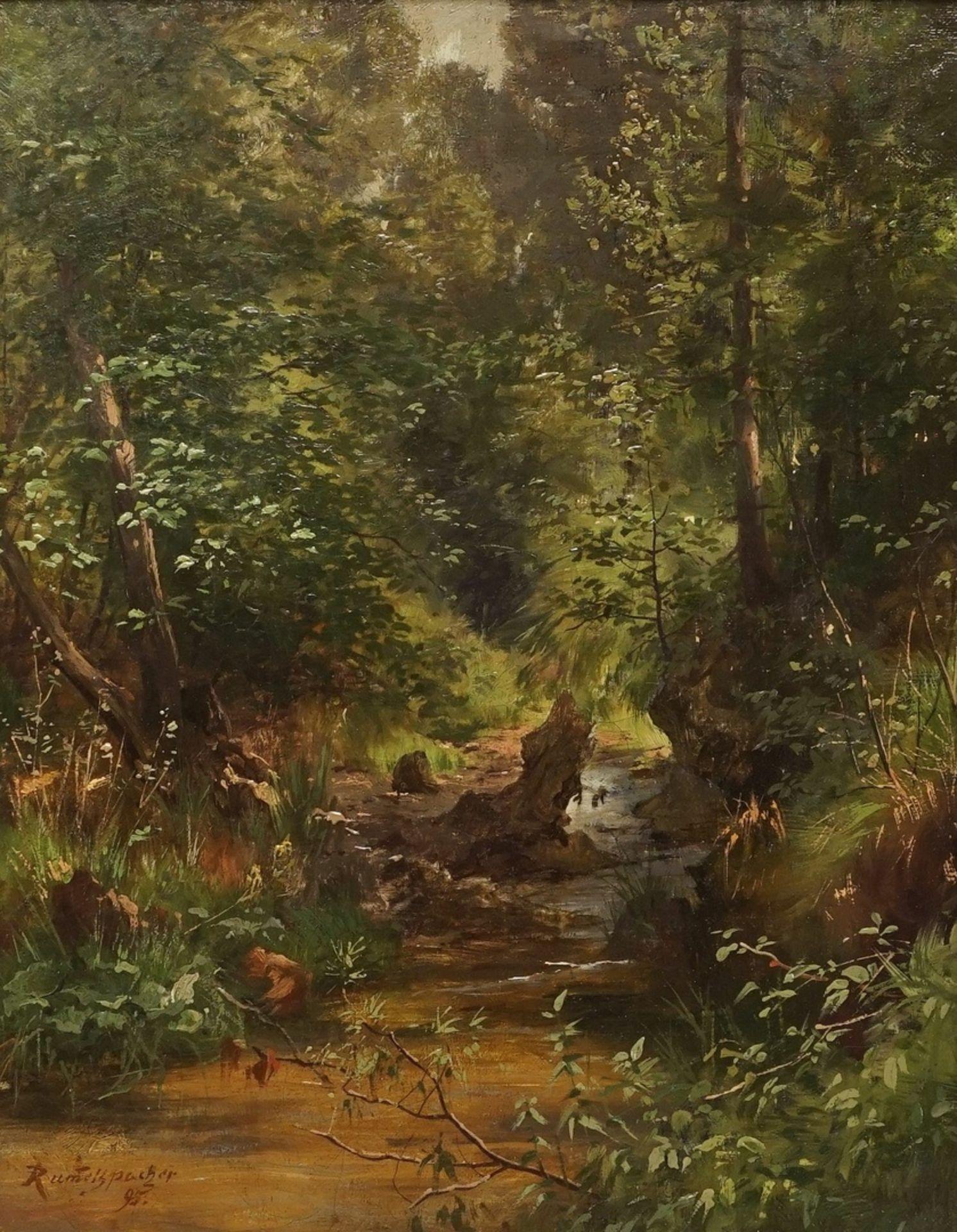 Joseph Rummelspacher, Waldinneres mit kleinem Bachlauf - Bild 2 aus 4