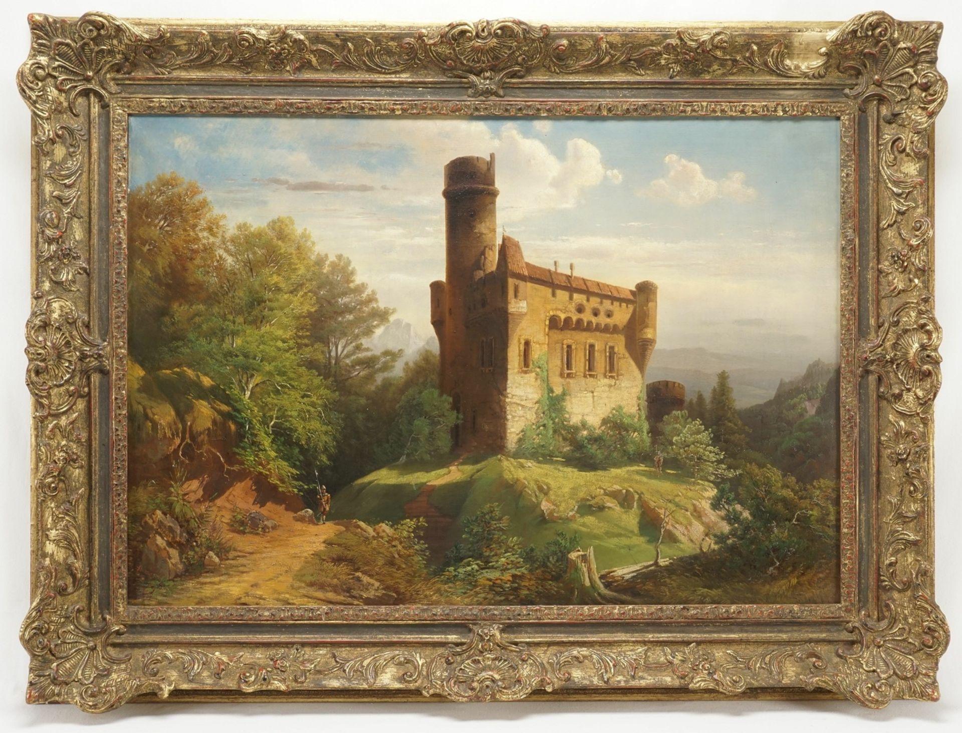 """Wohl Adolf Stademann, """"Historisierende Burg mit ruinösem Rundturm und Wachen"""""""