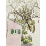 Franz Werneke, Gartenblick mit rosa Haus