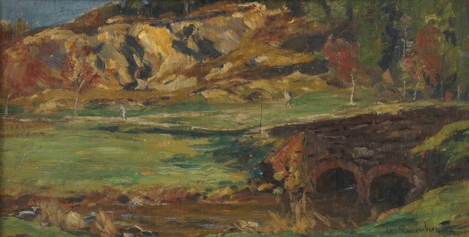Alfred Rasenberger, Landschaftsstudie mit Steinbrücke