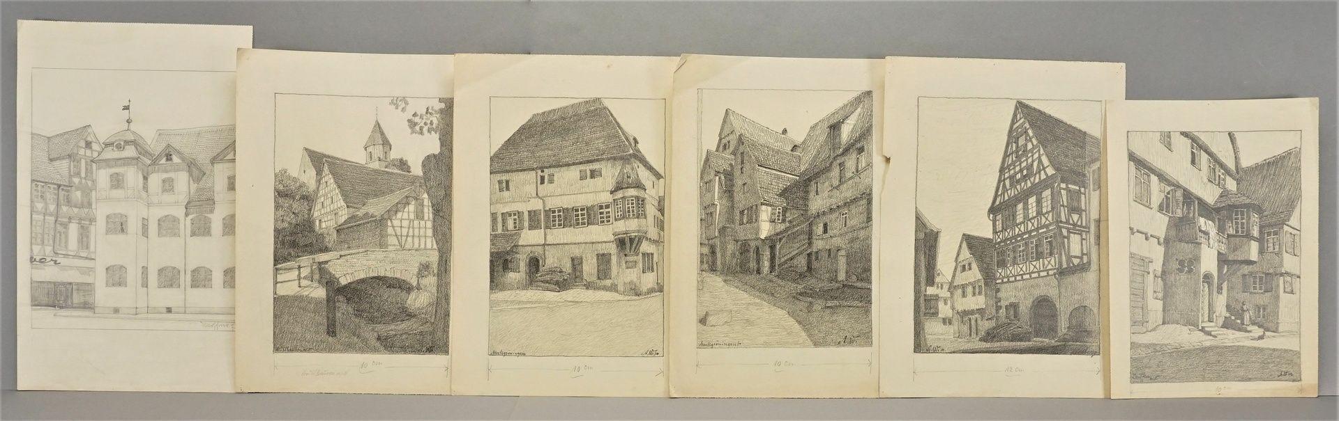 Sechs Handzeichnungen zu fränkischen Orten