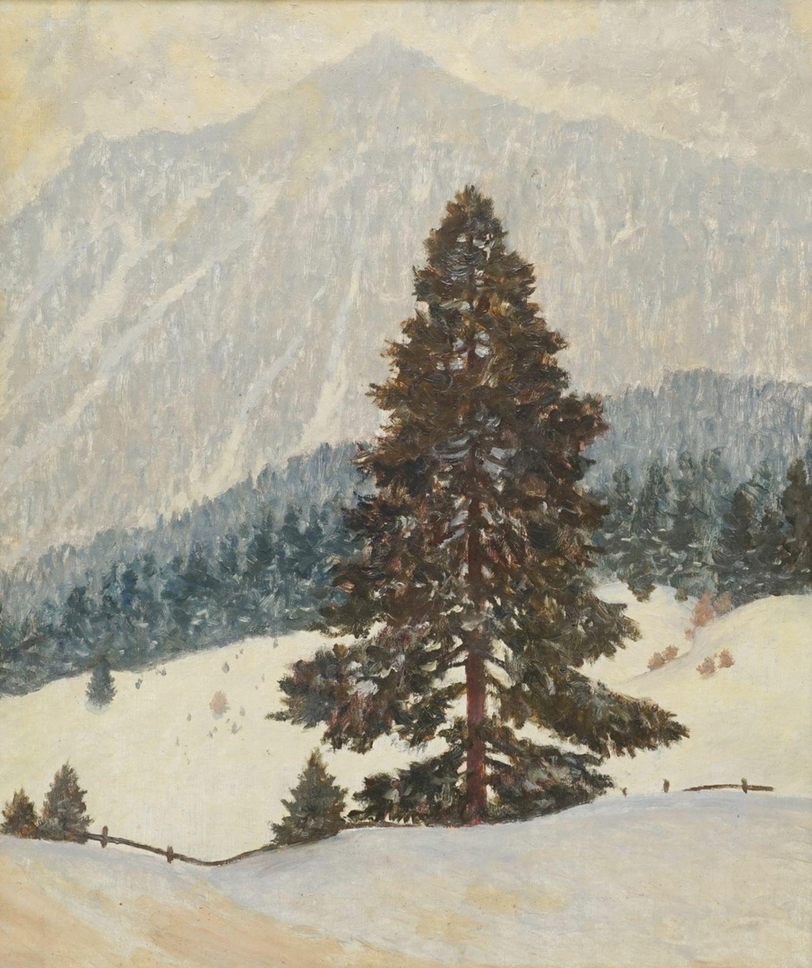"""Rudolf Hause, """"Schneewetter in den Schlierseer Bergen"""""""