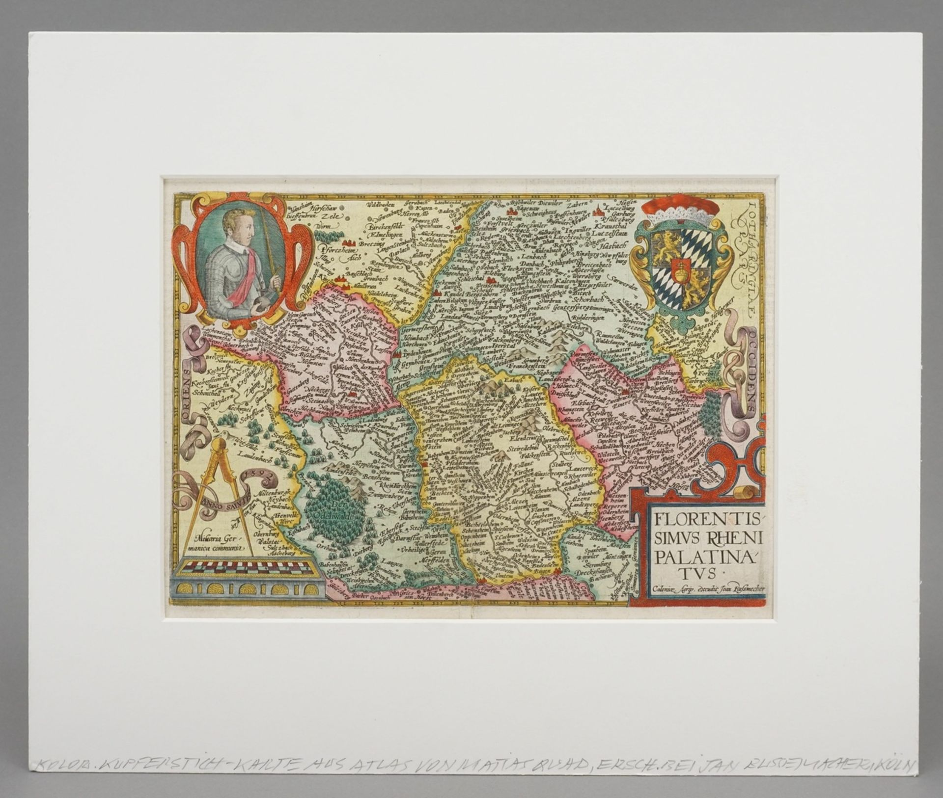 """Mat(t)hias Quad, """"Florentissimus Rheni Palatinatus"""" (Landkarte von Rheinpfalz, Odenwald und ... - Bild 2 aus 4"""