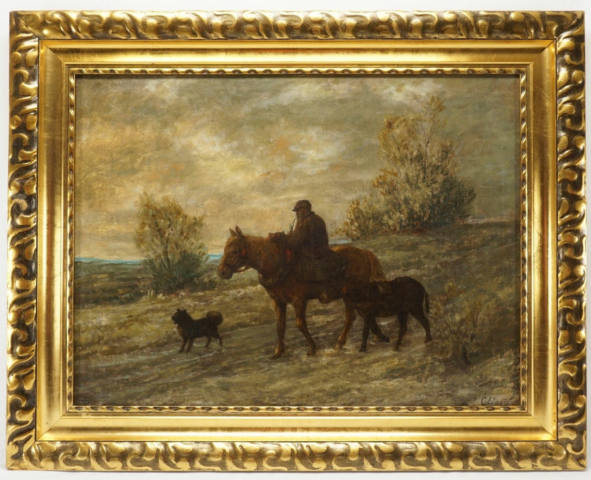 """C. Engel, """"Abendliche Heimkehr mit Esel und Spitz"""" - Bild 2 aus 4"""