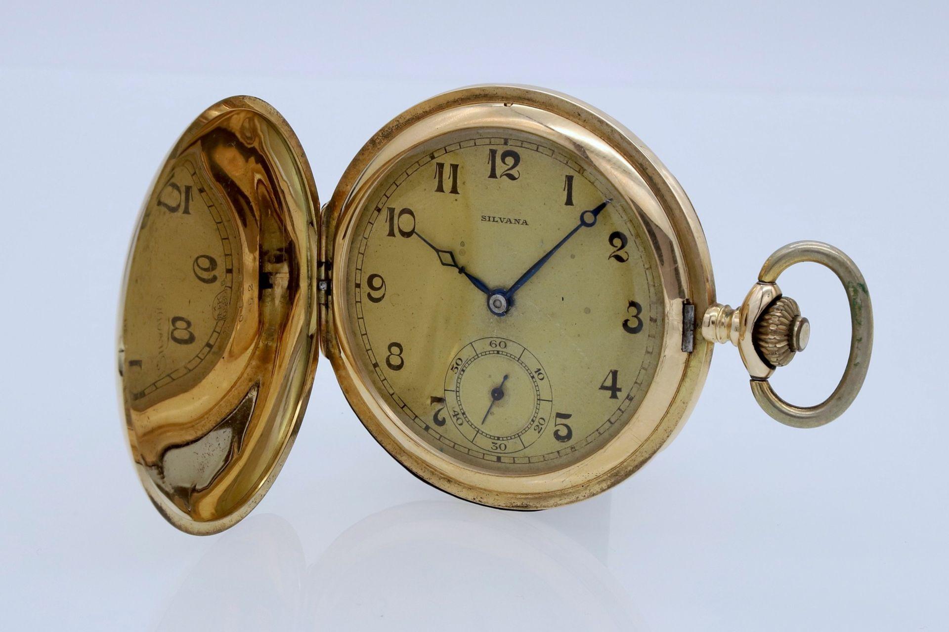 Silvana goldene Savonnette / Taschenuhr, um 1920