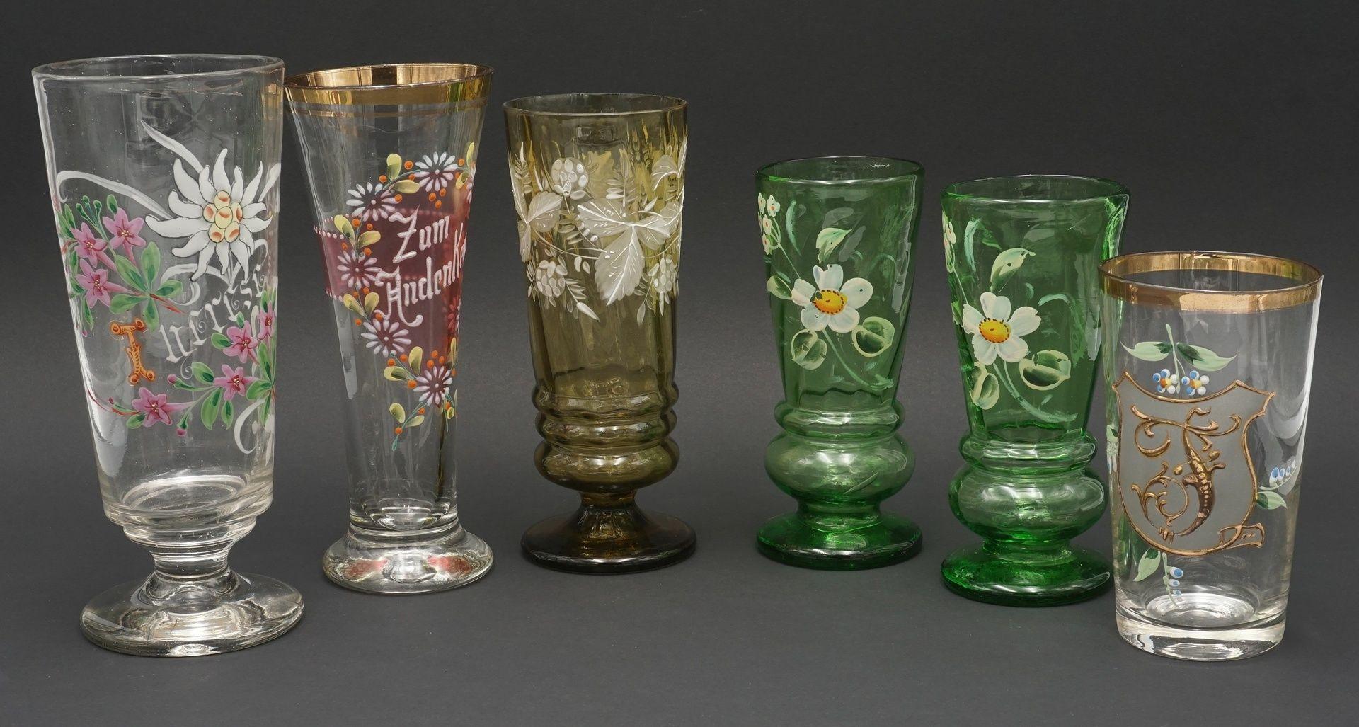 Sechs Gläser, um 1900