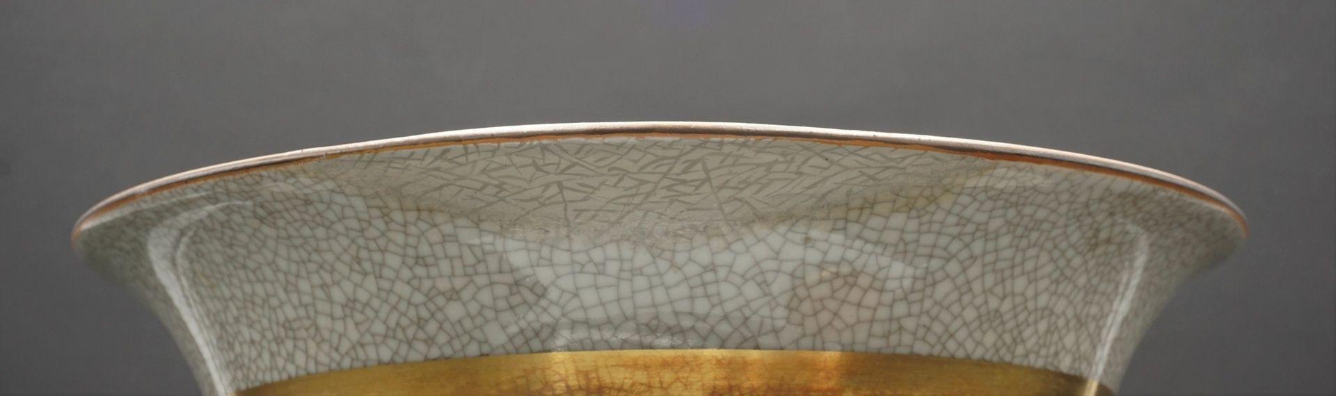Royal Copenhagen große Krakelee Vase mit Schale, um 1950 - Bild 5 aus 8