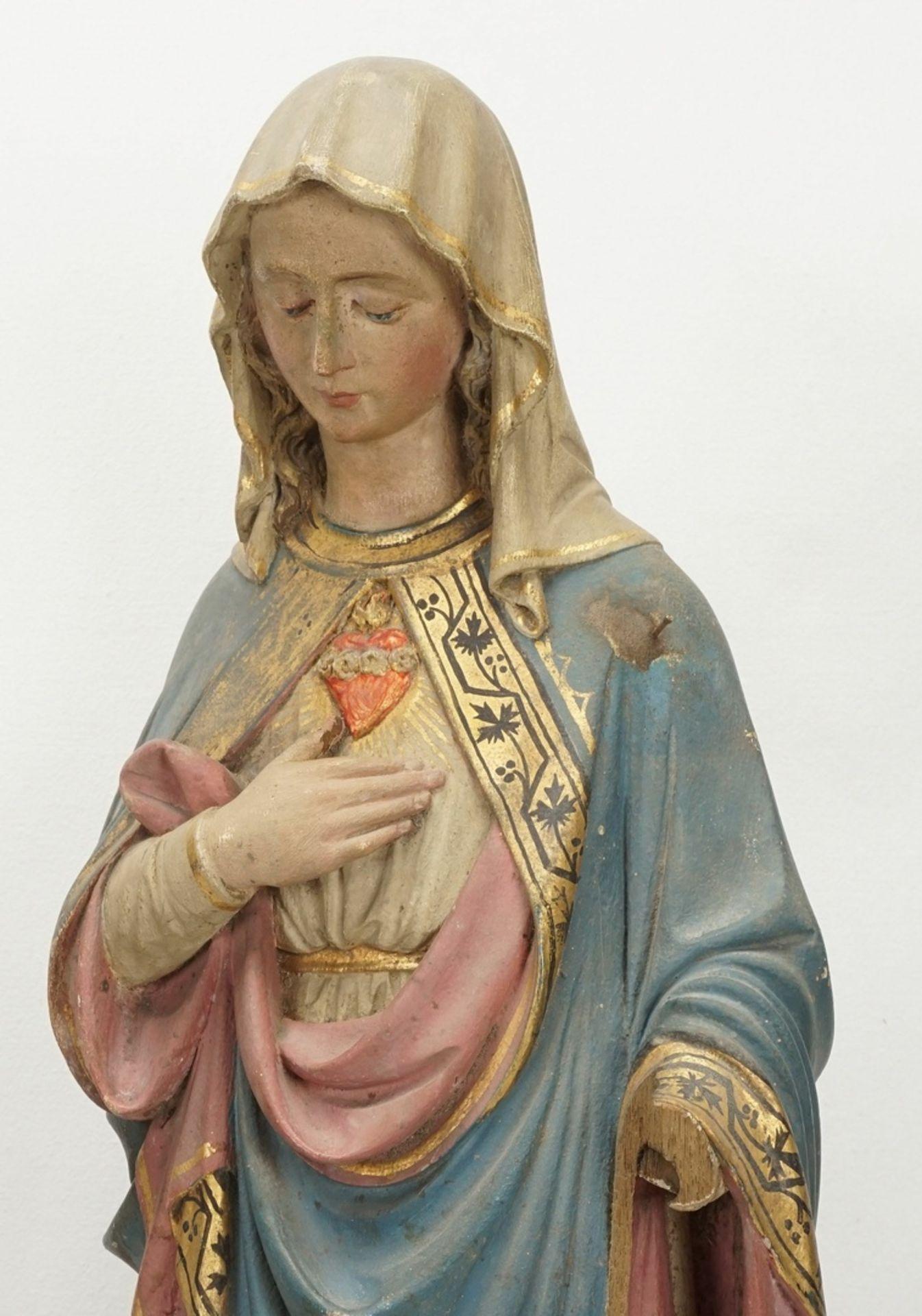 Zwei Holzskulpturen, Jesus und Maria mit brennendem Herzen, 19. Jh. - Bild 3 aus 5