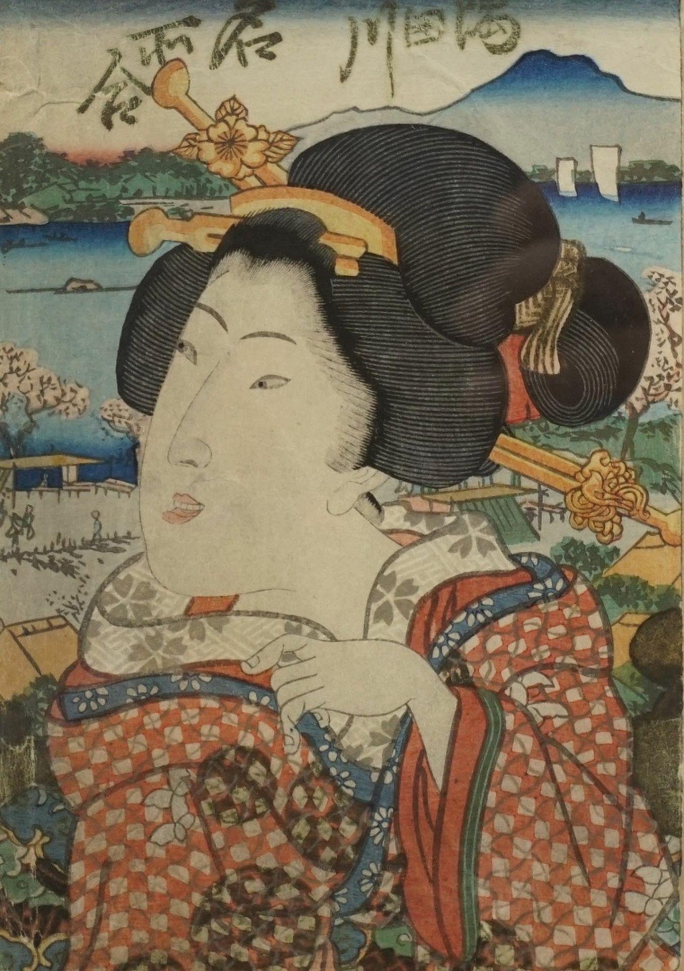 Unbekannter Künstler, Kleines Portrait einer Geisha