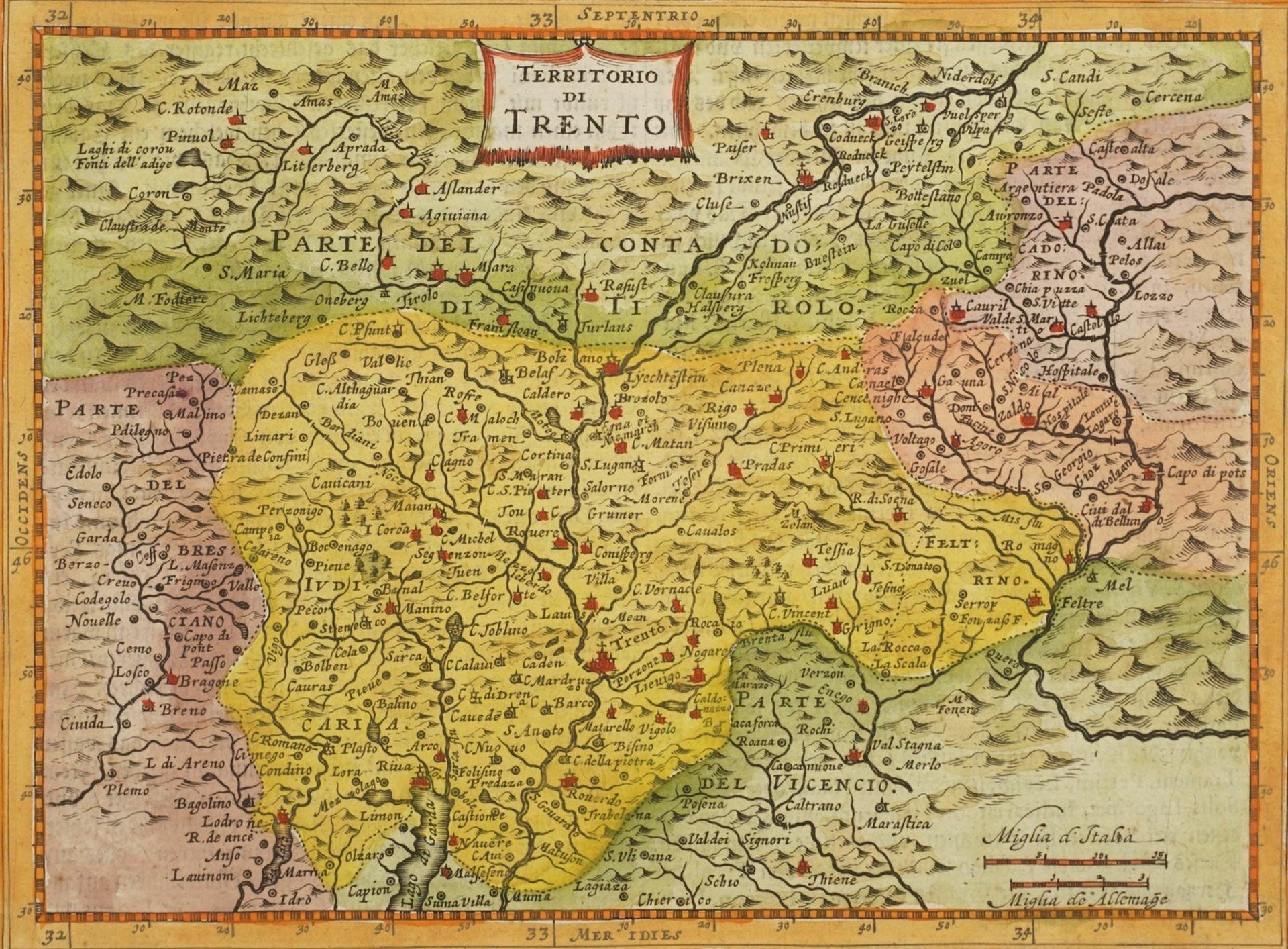 """Gerhard Mercator, """"Von Trient / Territorio di Trento"""" (Landkarte der Gegend um Trient, Südtirol)"""
