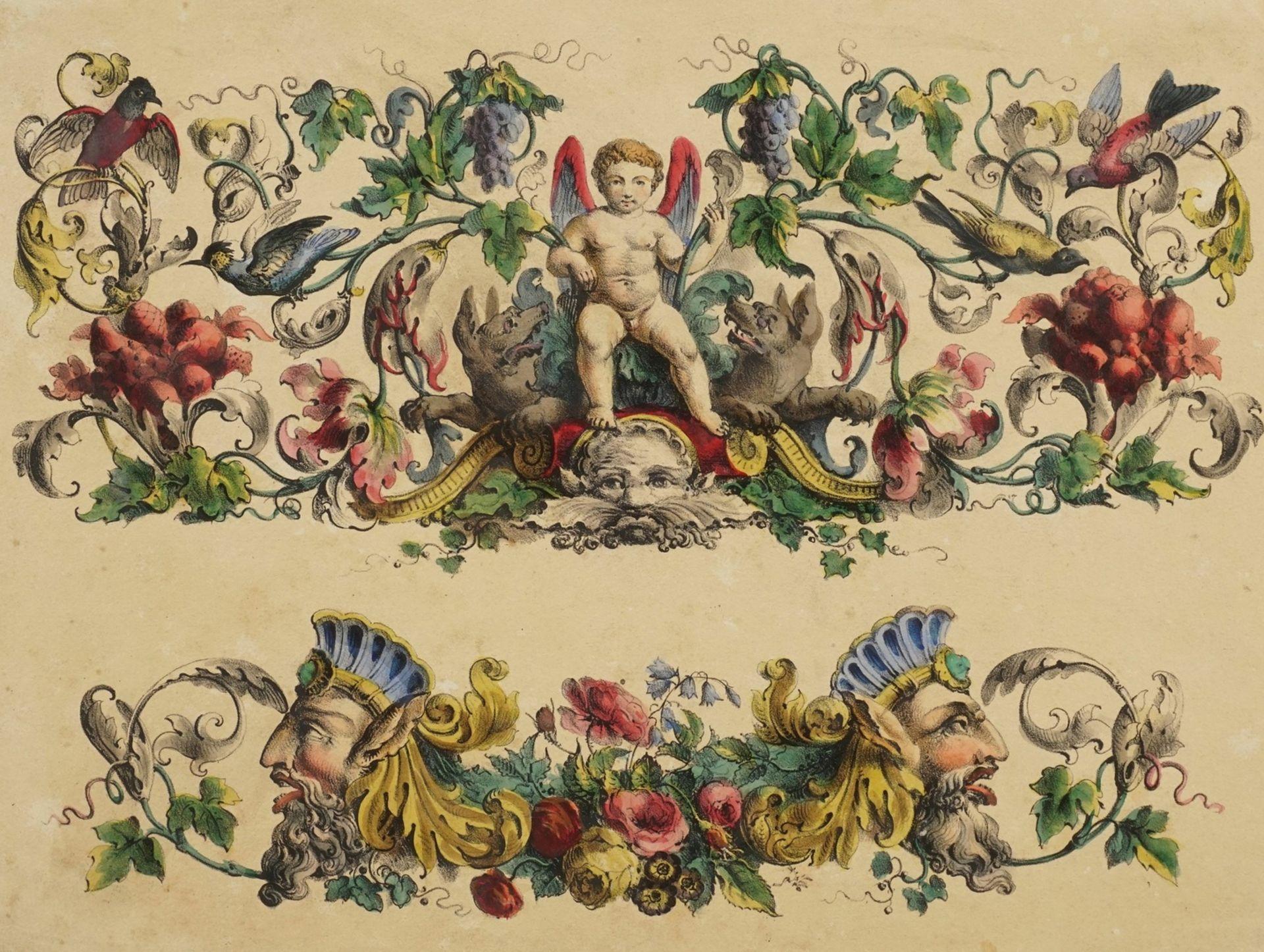 Dekorblatt mit Putto und Grotesken