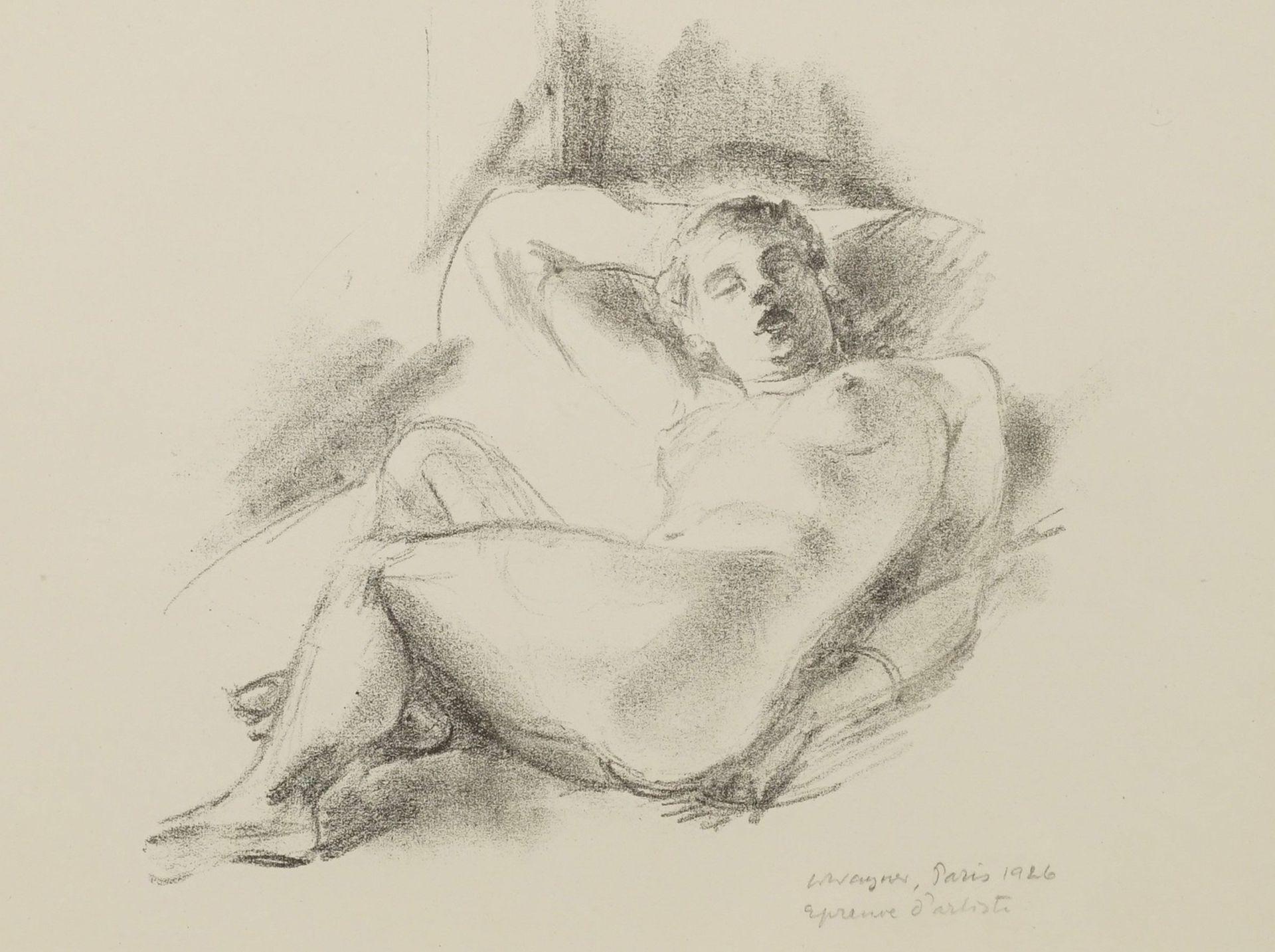 Wilhelm Wagner, Liegender Frauenakt, die Beine nach rechts