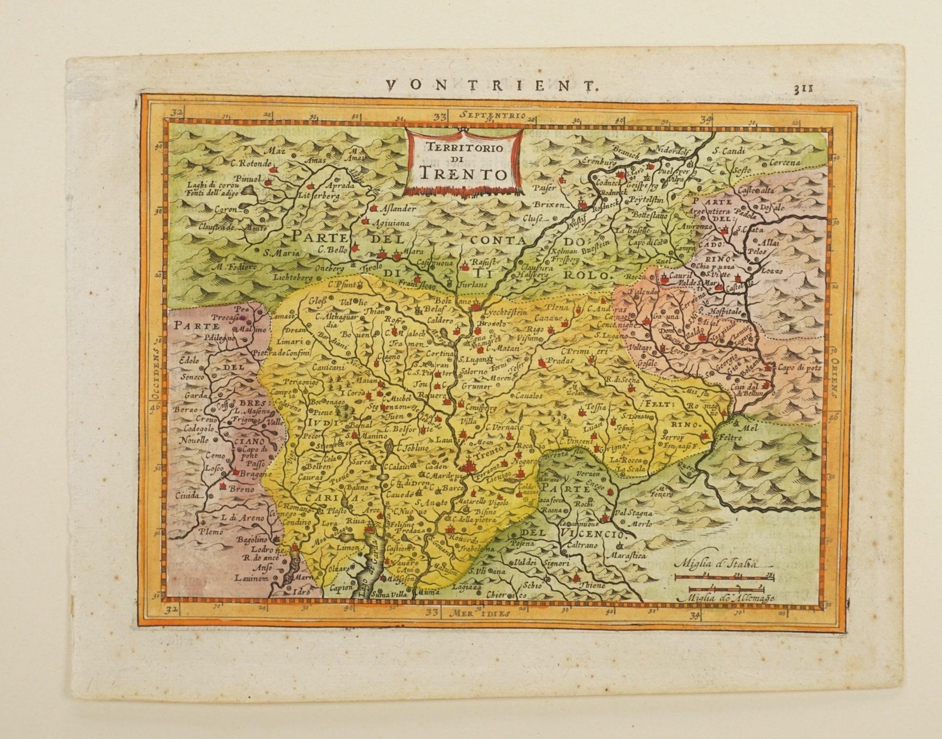 """Gerhard Mercator, """"Von Trient / Territorio di Trento"""" (Landkarte der Gegend um Trient, Südtirol) - Bild 3 aus 4"""