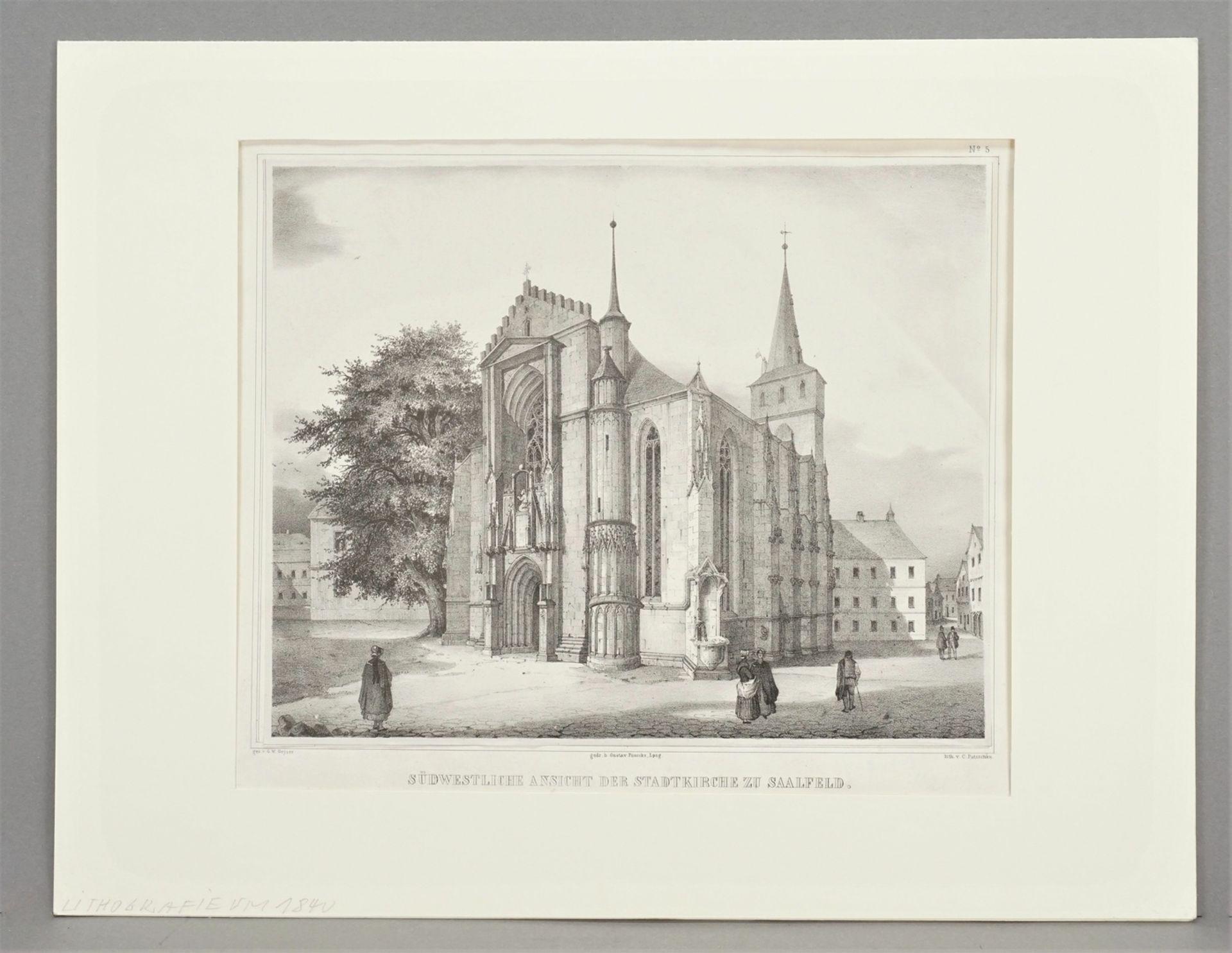 Südwestliche Ansicht der Stadtkirche zu Saalfeld - Bild 2 aus 3