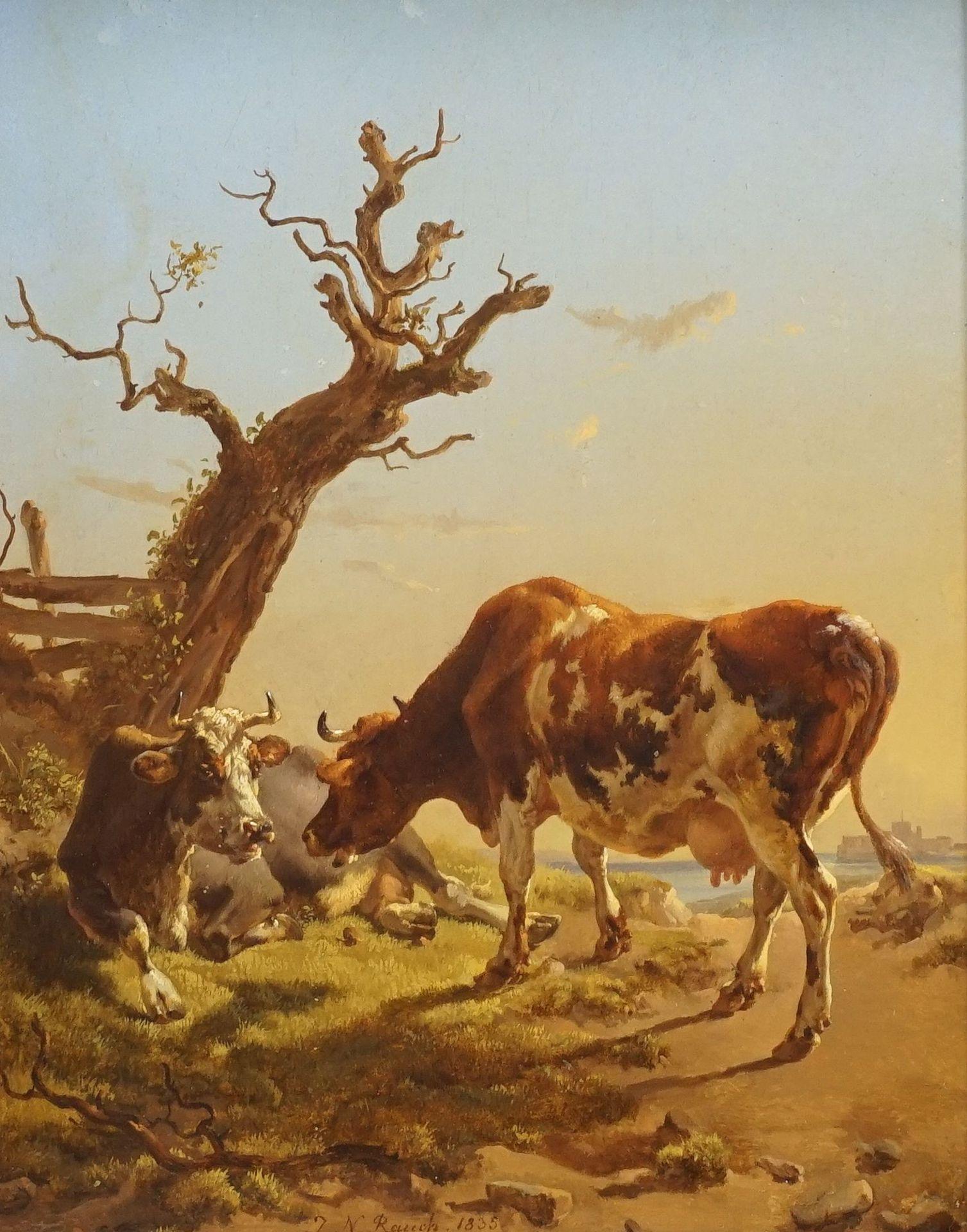 """Johann Nepomuk Rauch, """"Zwei Kühe am Wegrand"""""""