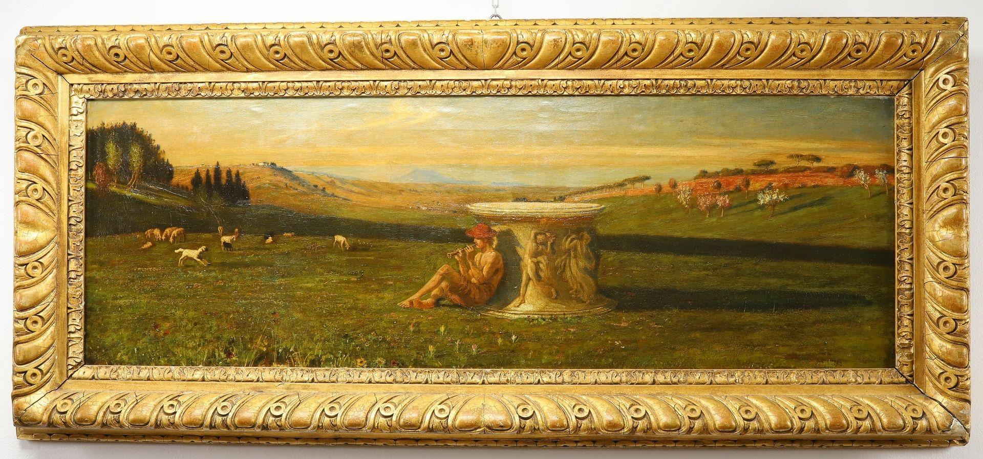 Englischer Monogrammist, Flöte spielender Hirte in arkadischer Landschaft - Bild 2 aus 5