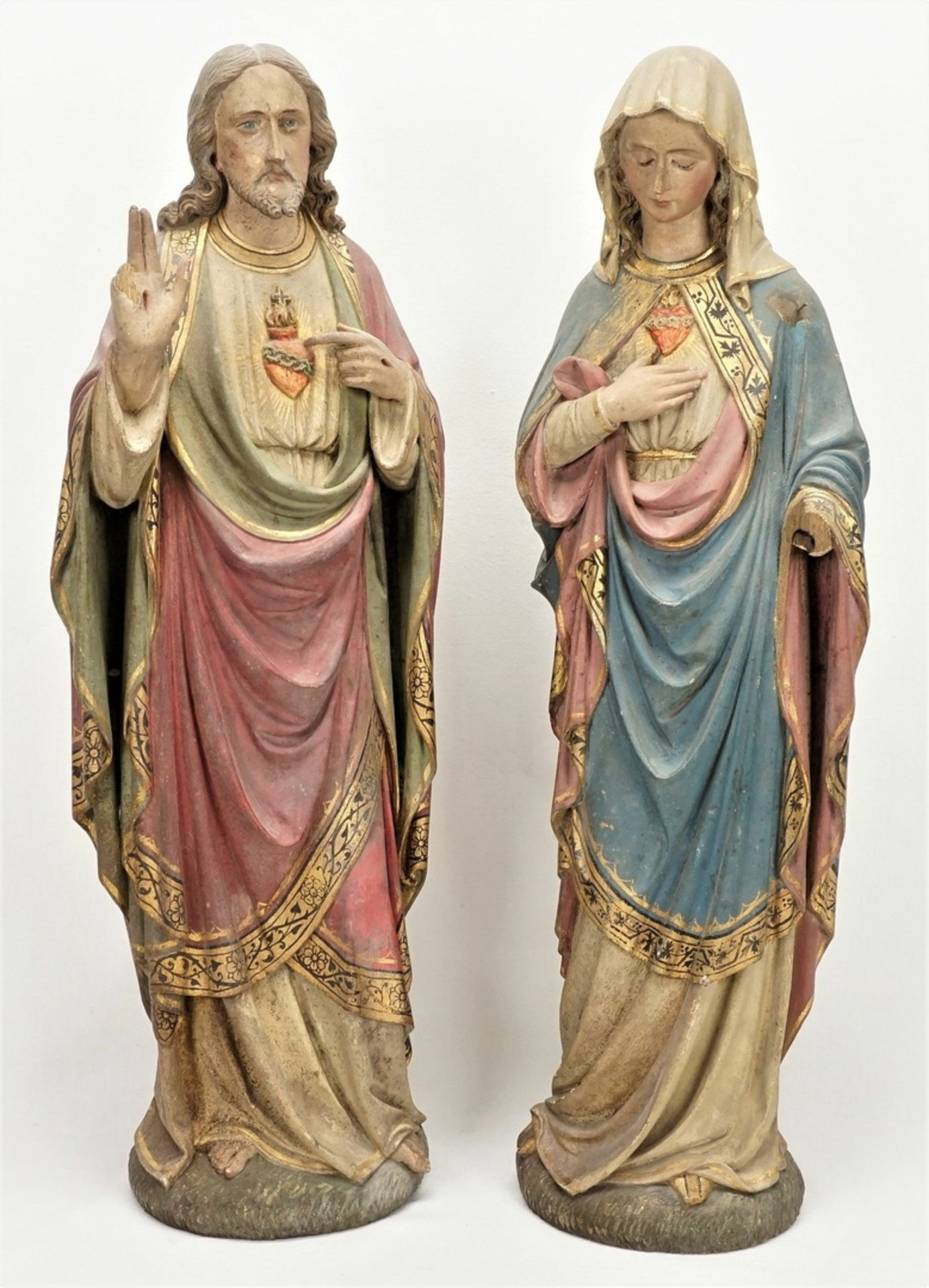Zwei Holzskulpturen, Jesus und Maria mit brennendem Herzen, 19. Jh.
