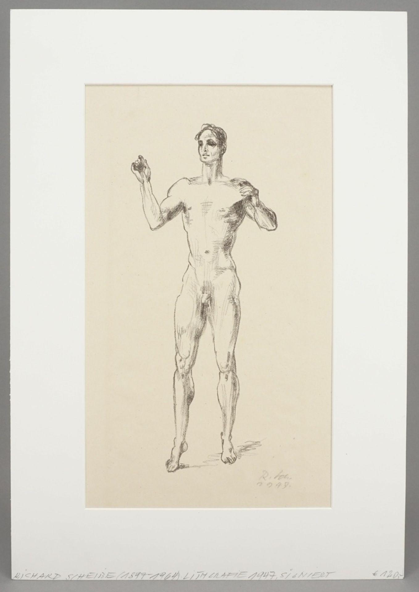 Richard Scheibe, Stehender männlicher Akt mit erhobenen Armen - Bild 2 aus 4