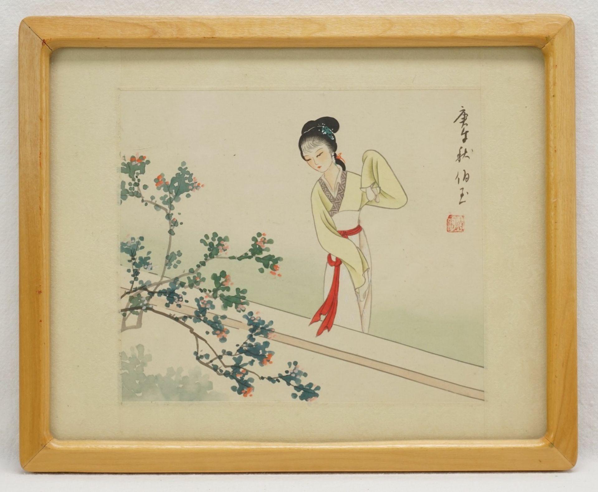 Drei japanische Seidenbilder mit Frauendarstellungen - Bild 2 aus 4