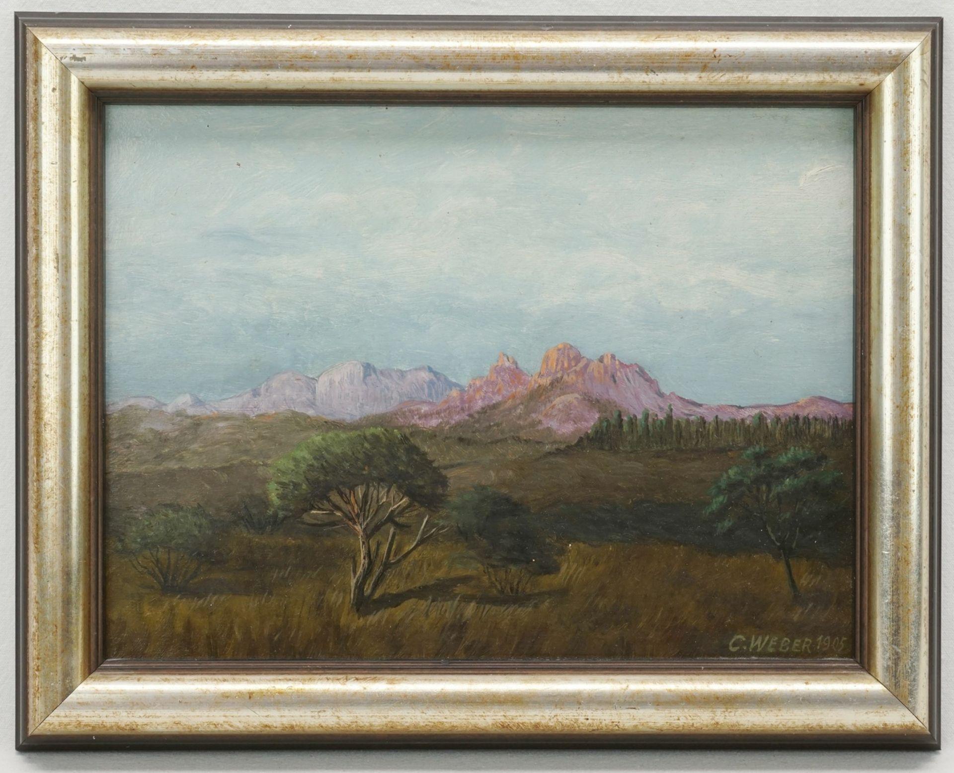 """C. Weber, """"Kaiser Wilhelm Berg bei Okahandja. Gewitterstimmung bei Abendsonne"""" - Bild 2 aus 4"""